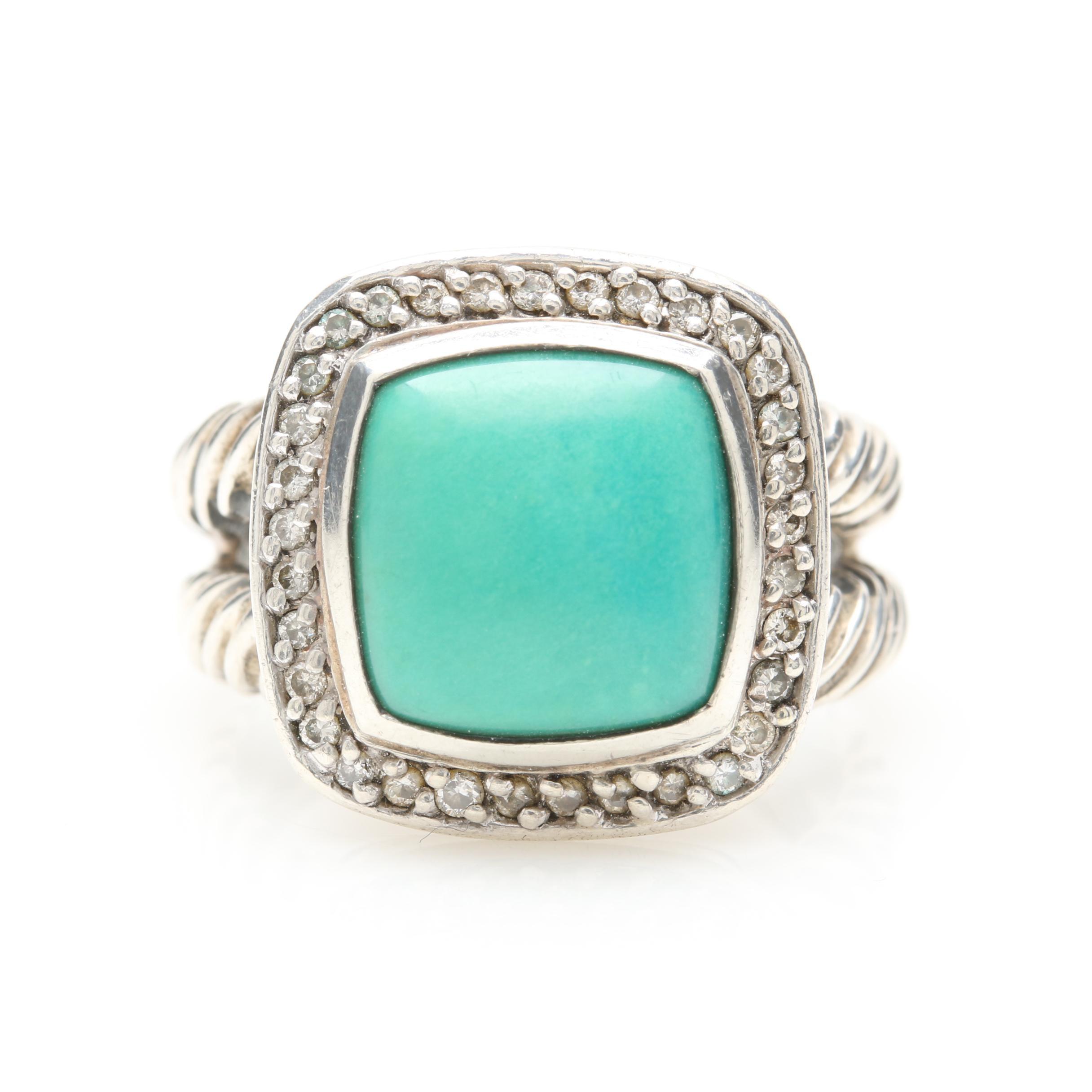 David Yurman Petite Albion Sterling Silver Turquoise and Diamond Ring