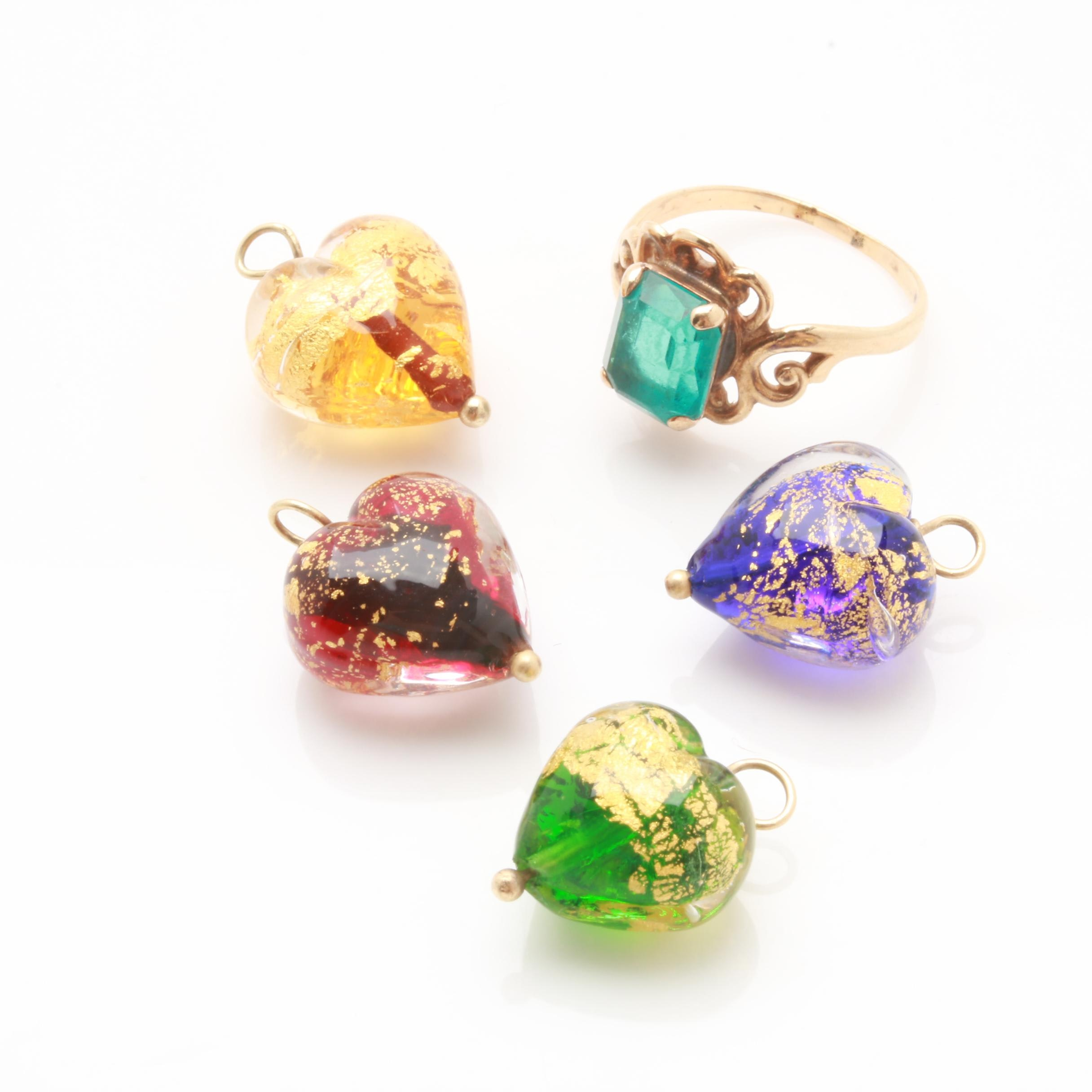 14K Yellow Gold Glass Ring and Glass Heart Charms