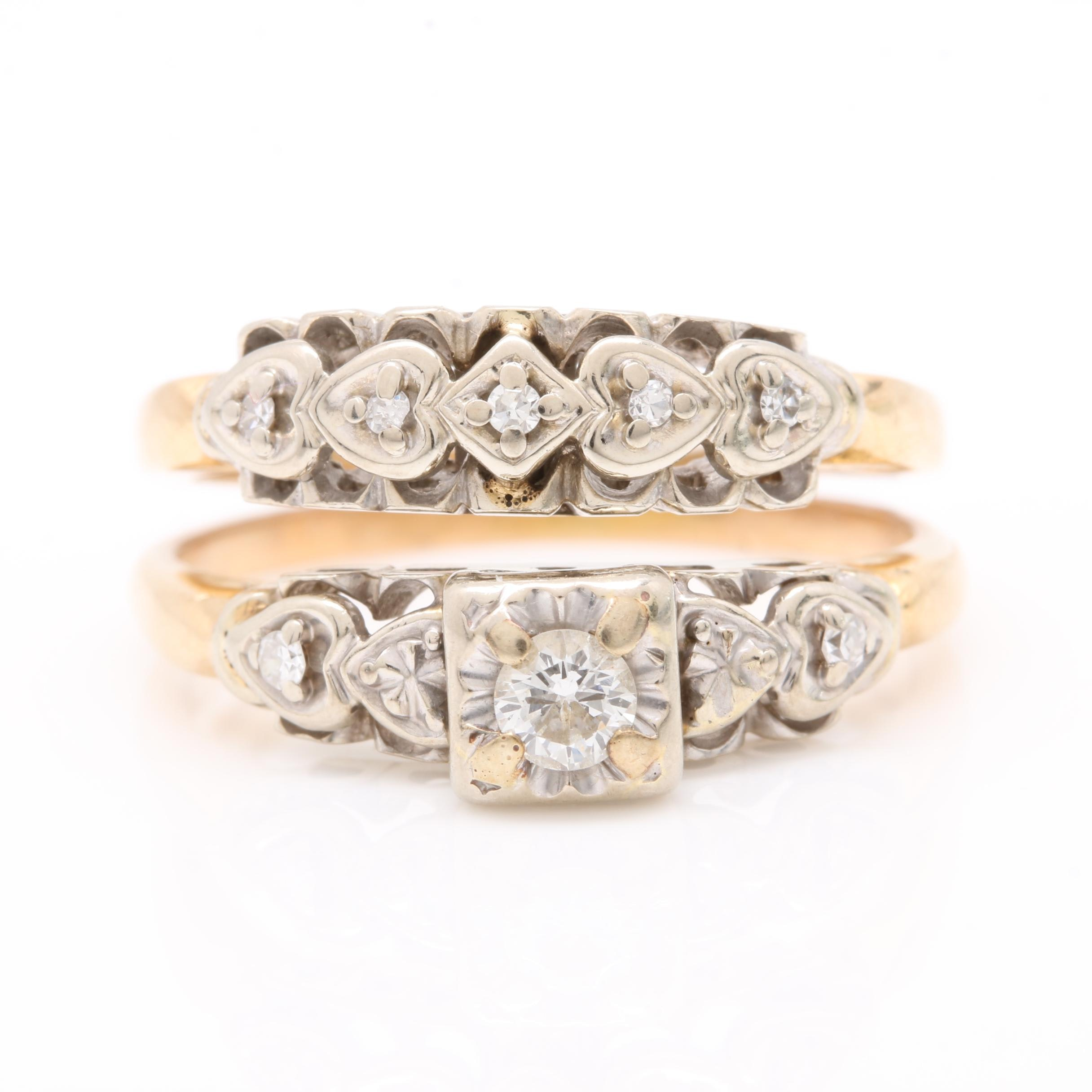 14K Yellow Gold Diamond Bridal Ring Set with 14K White Gold Settings