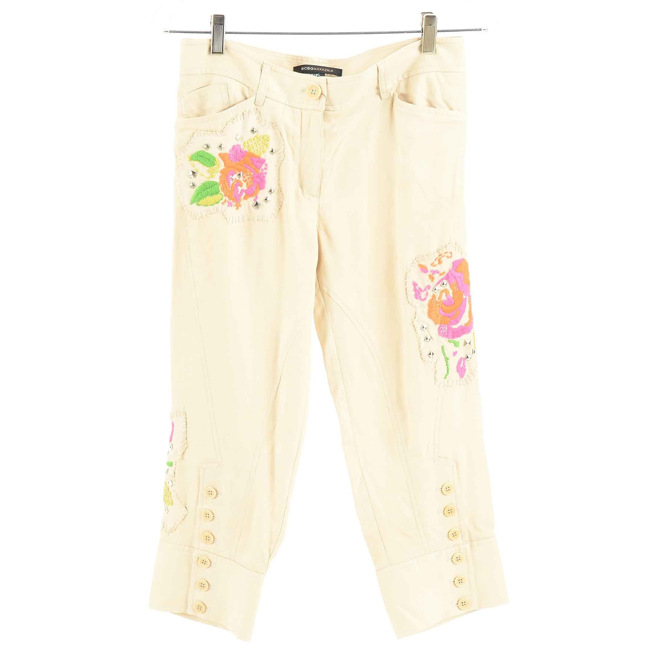 BCBG Maxazria Embroidered Silk Twill Jodhpur Pants