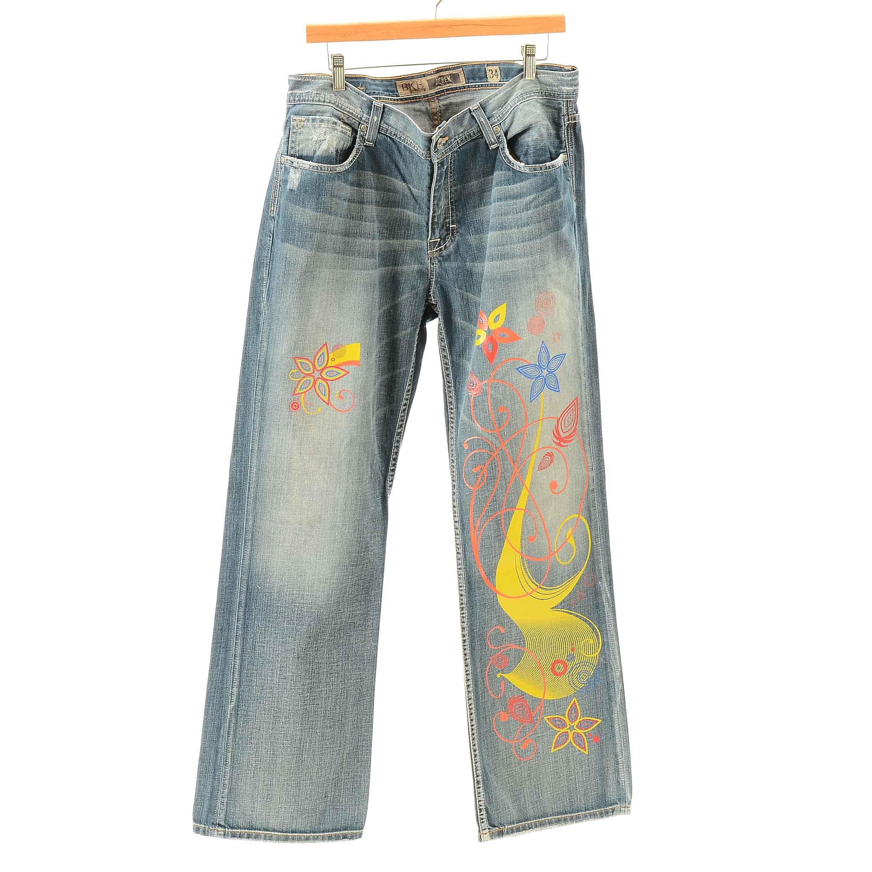 Women's BKE Derek Transfer Decorated Denim Straight Leg Jeans