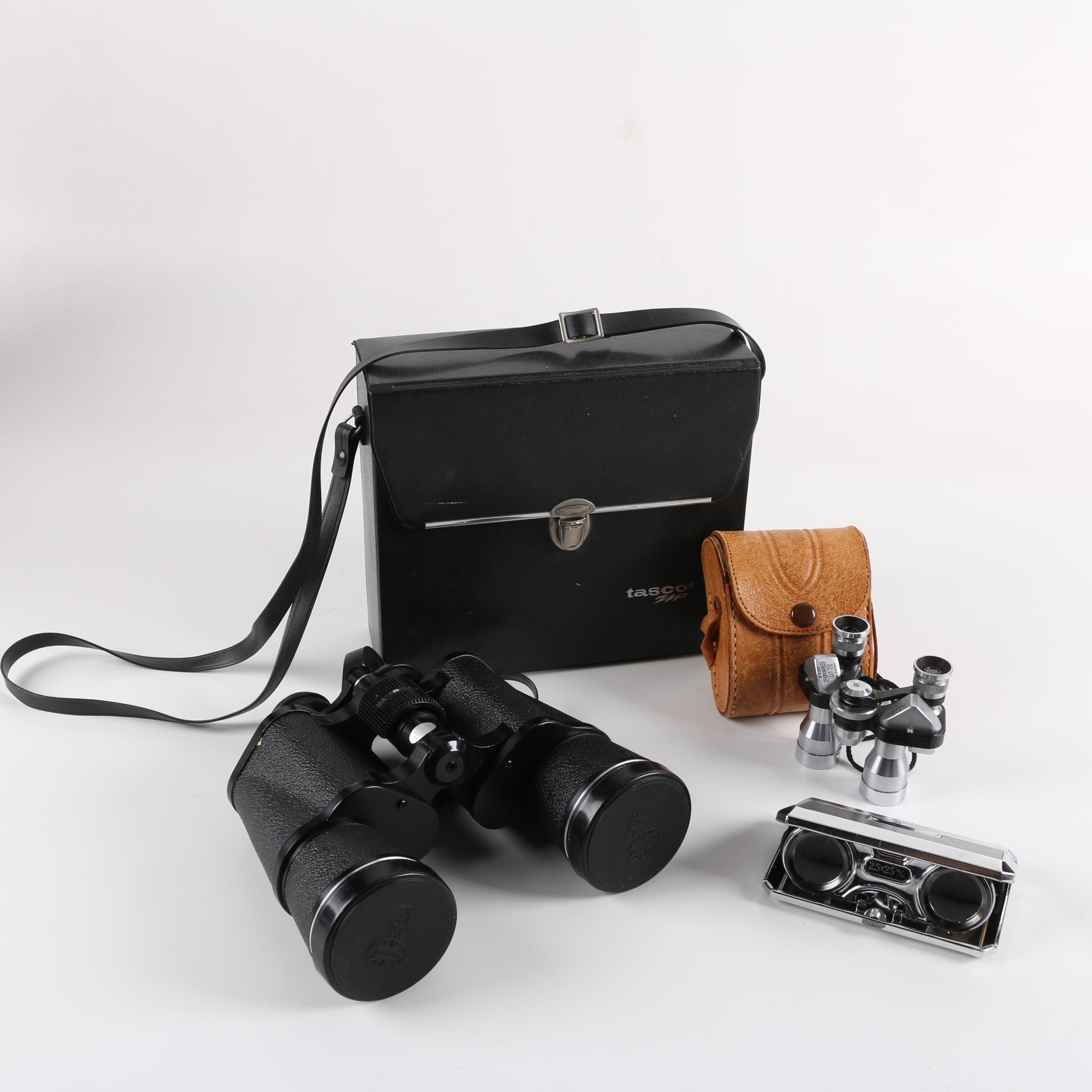 Tasco Zip 312Z 10x50, Yoshida Thorobred 8x20 and Focal 2.5x25 Binoculars