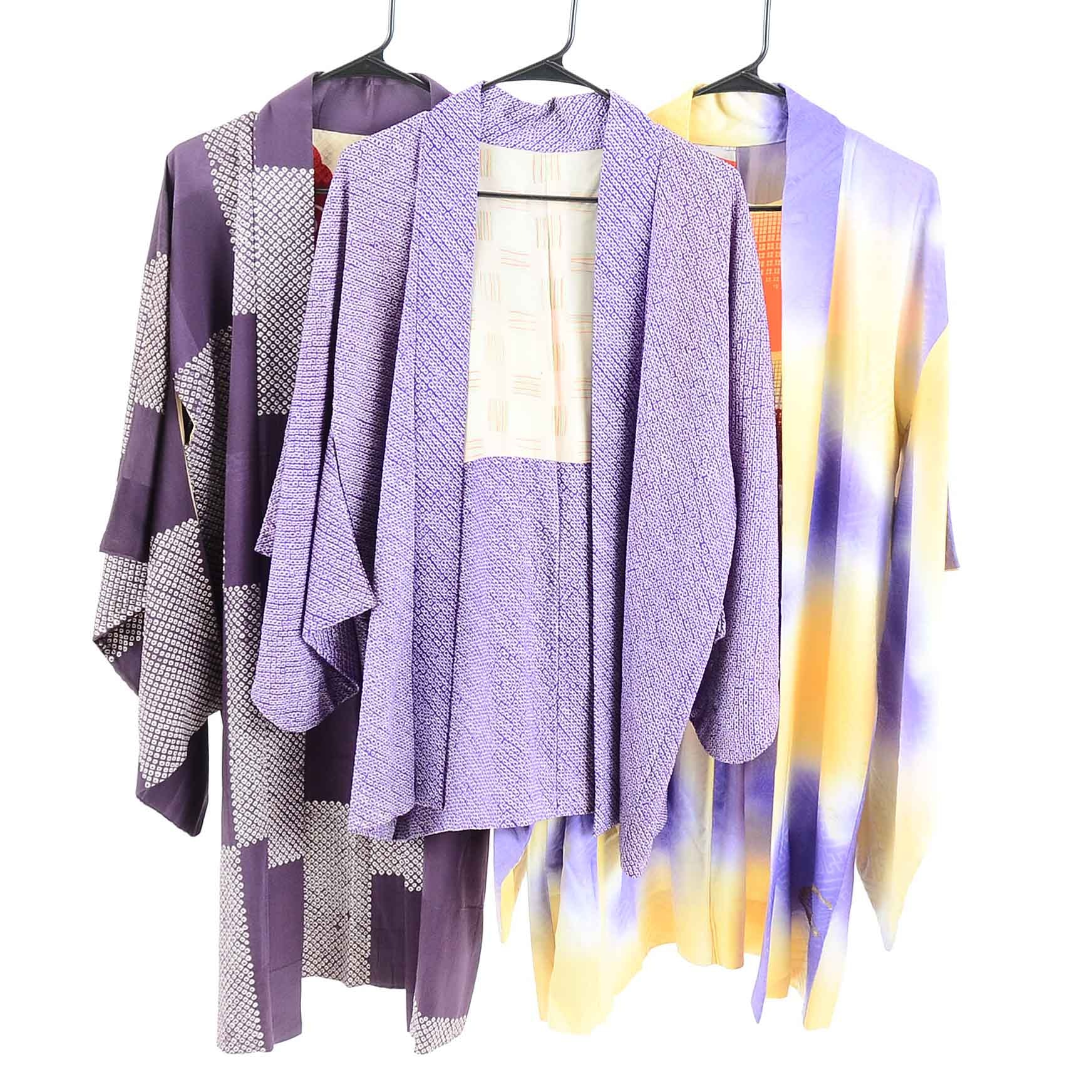Vintage Japanese Silk Purple Haori Jackets