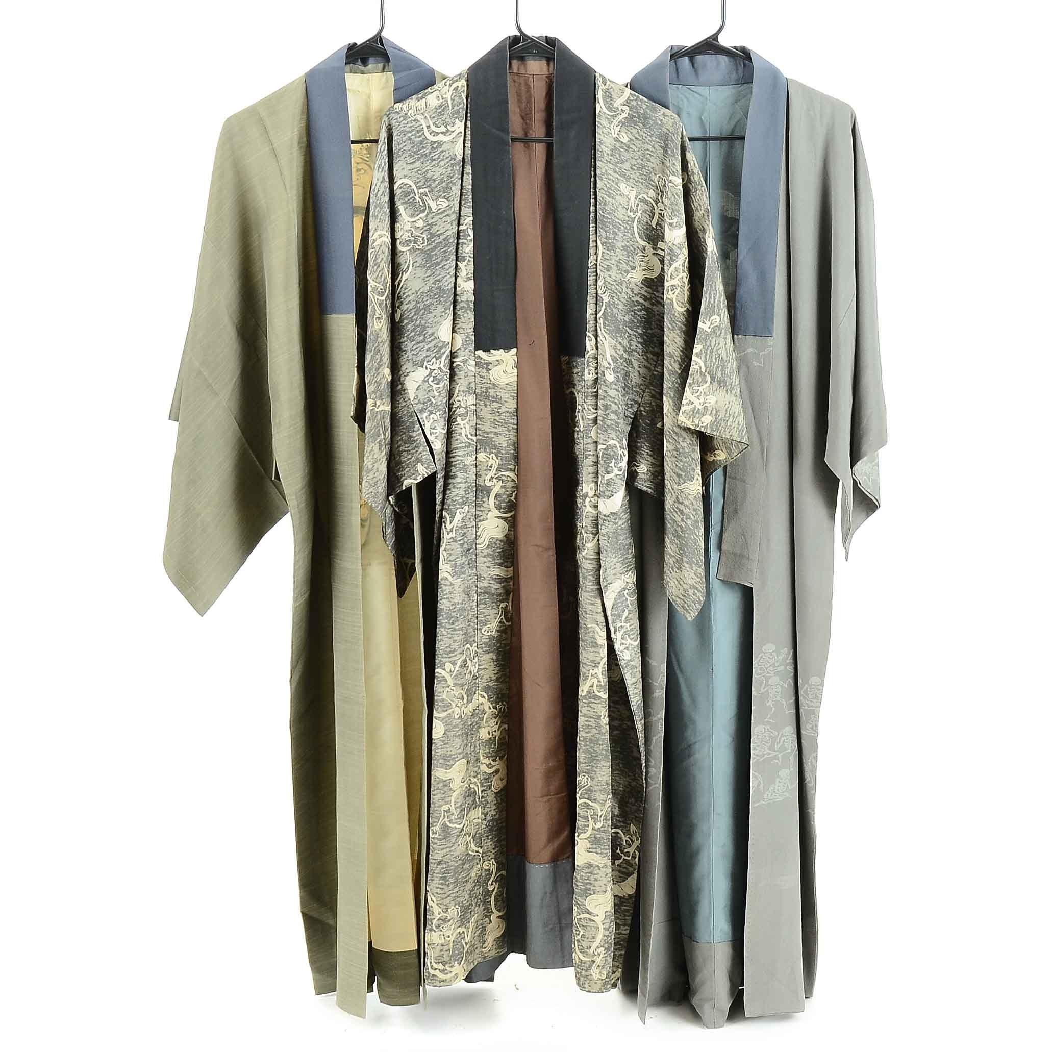 Vintage Japanese Dark Silk Kimonos