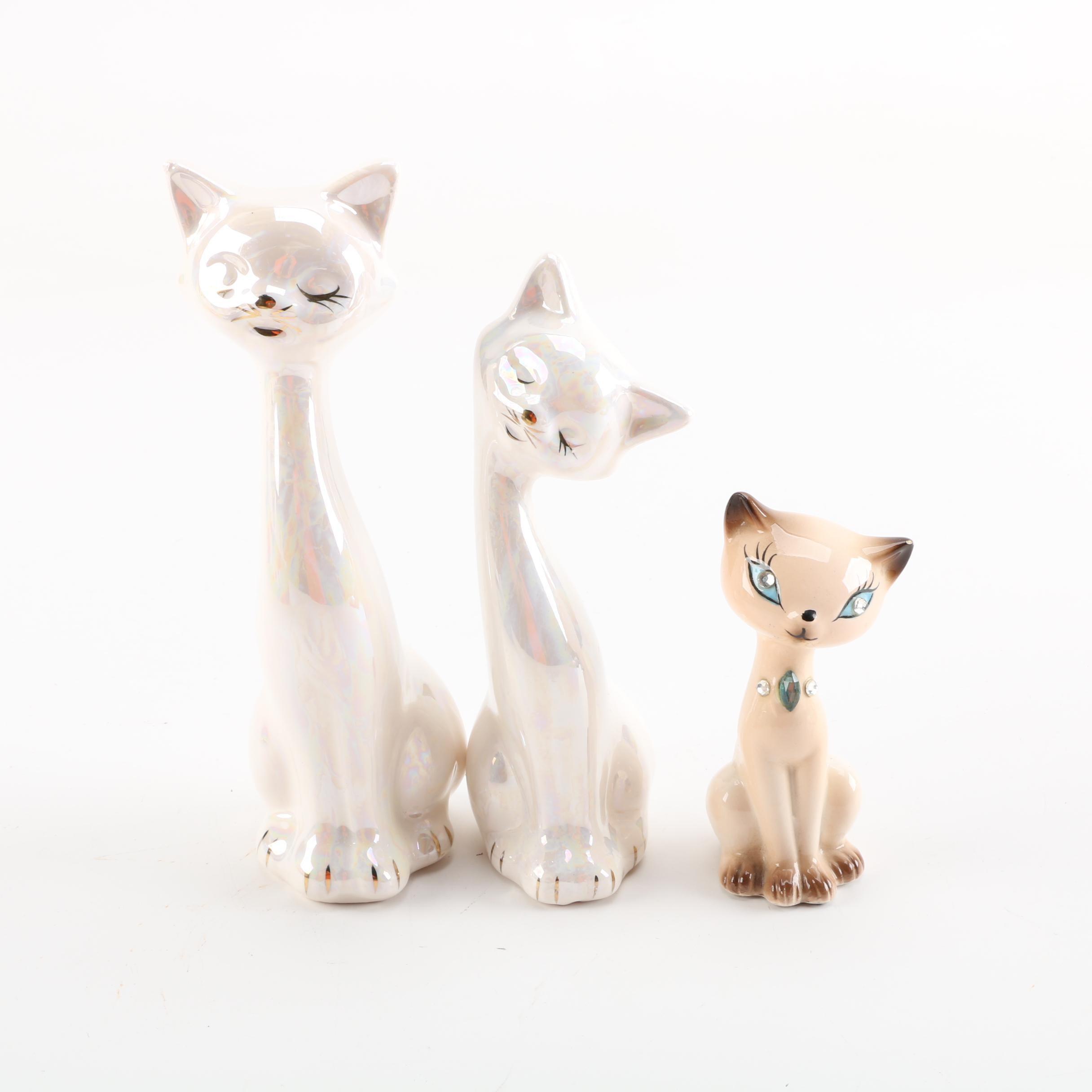 Vintage Ceramic Seated Cat Figurines