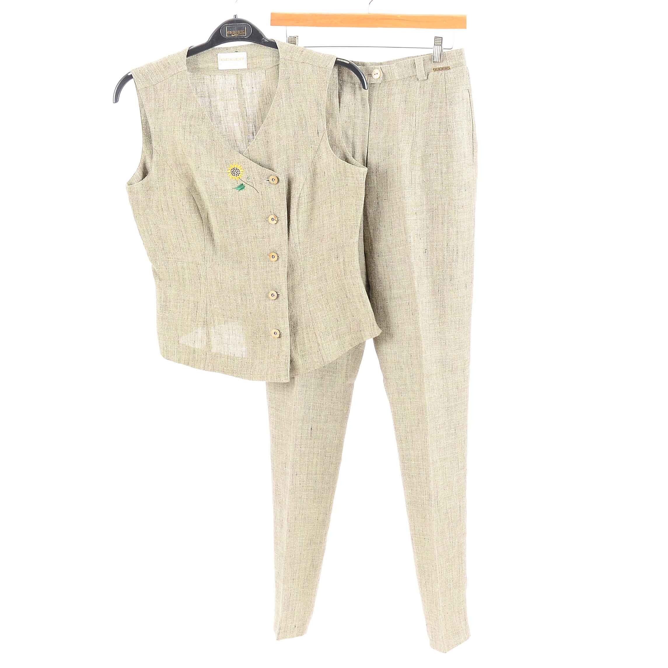 Women's Geiger Matching Taupe Asymetrical Embroidered Vest and Pants