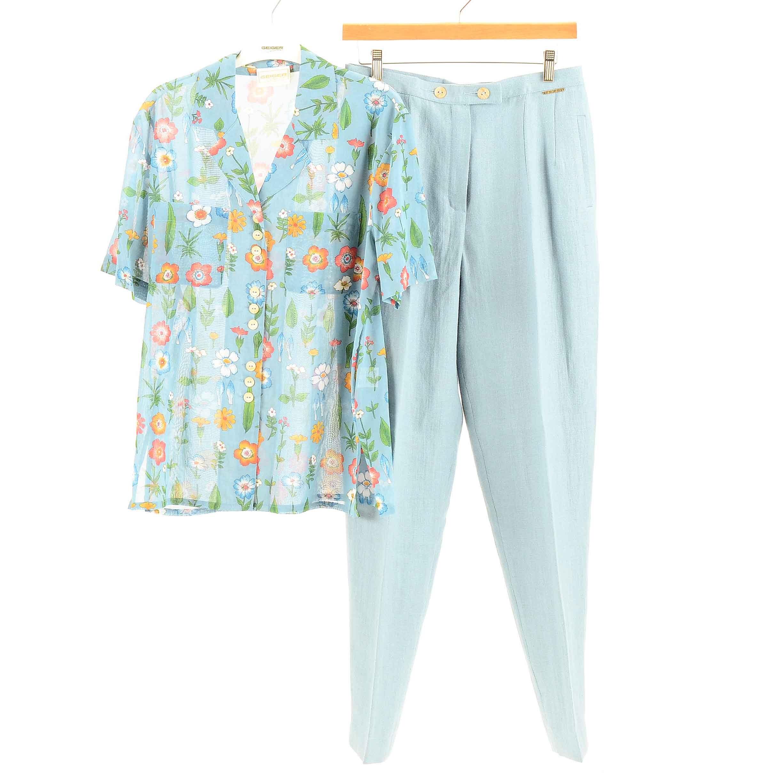 Women's Geiger Floral Short Sleeve Blouse and Linen Pants Set
