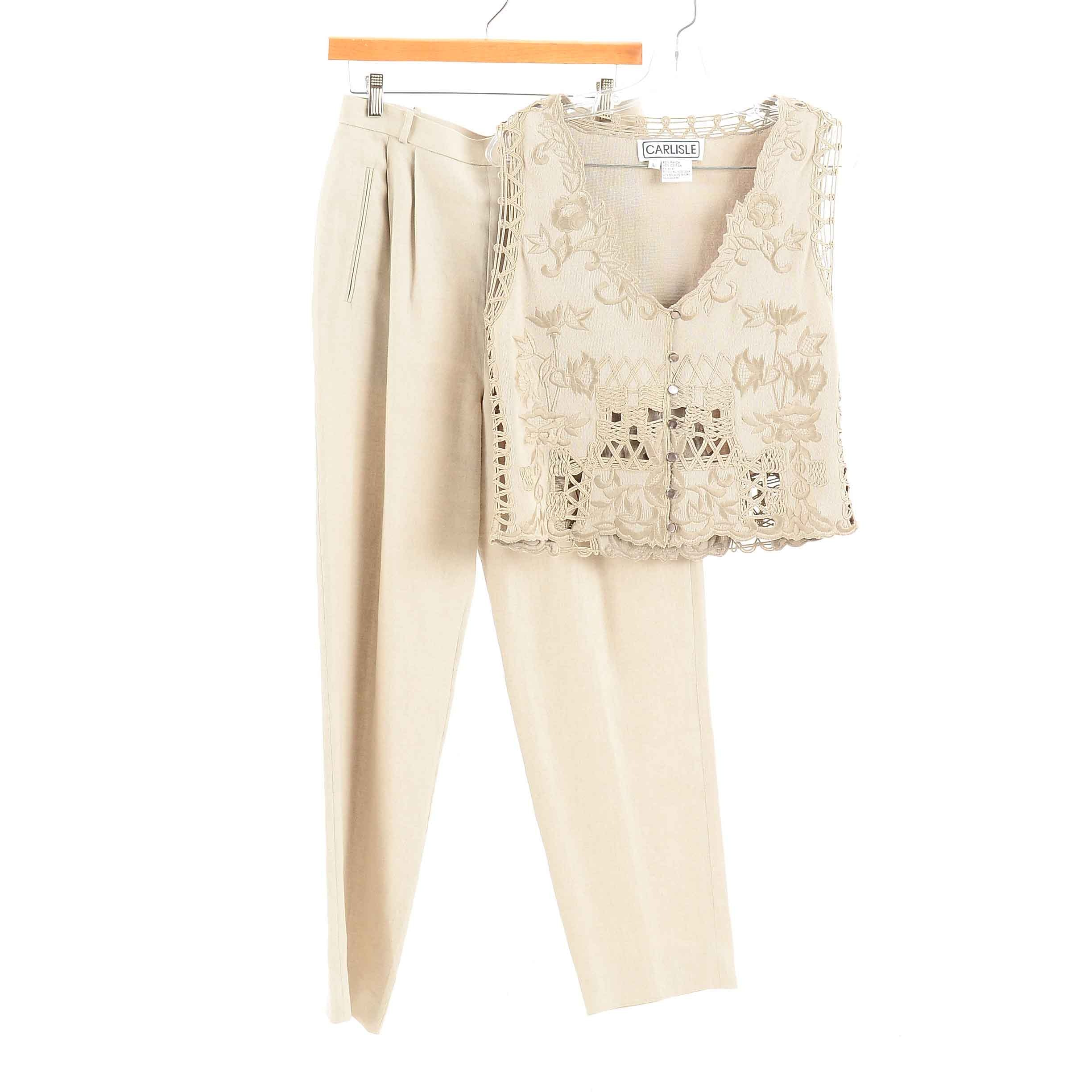 Women's Carlisle Coordinating Embroidered Openwork Taupe Vest and Pants