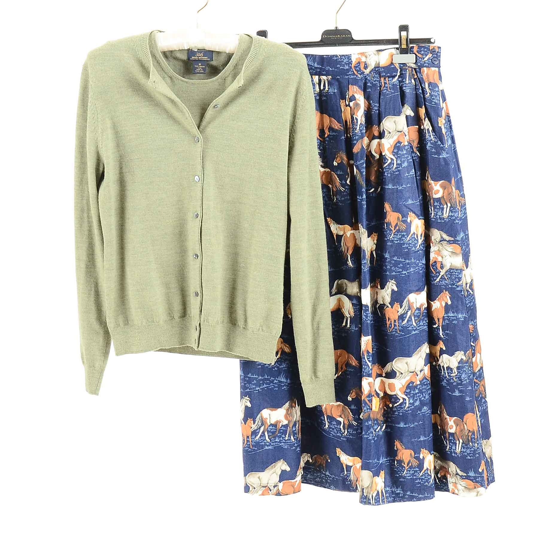 Horse Print Skirt and Brooks Brothers Cardigan Sweater Set