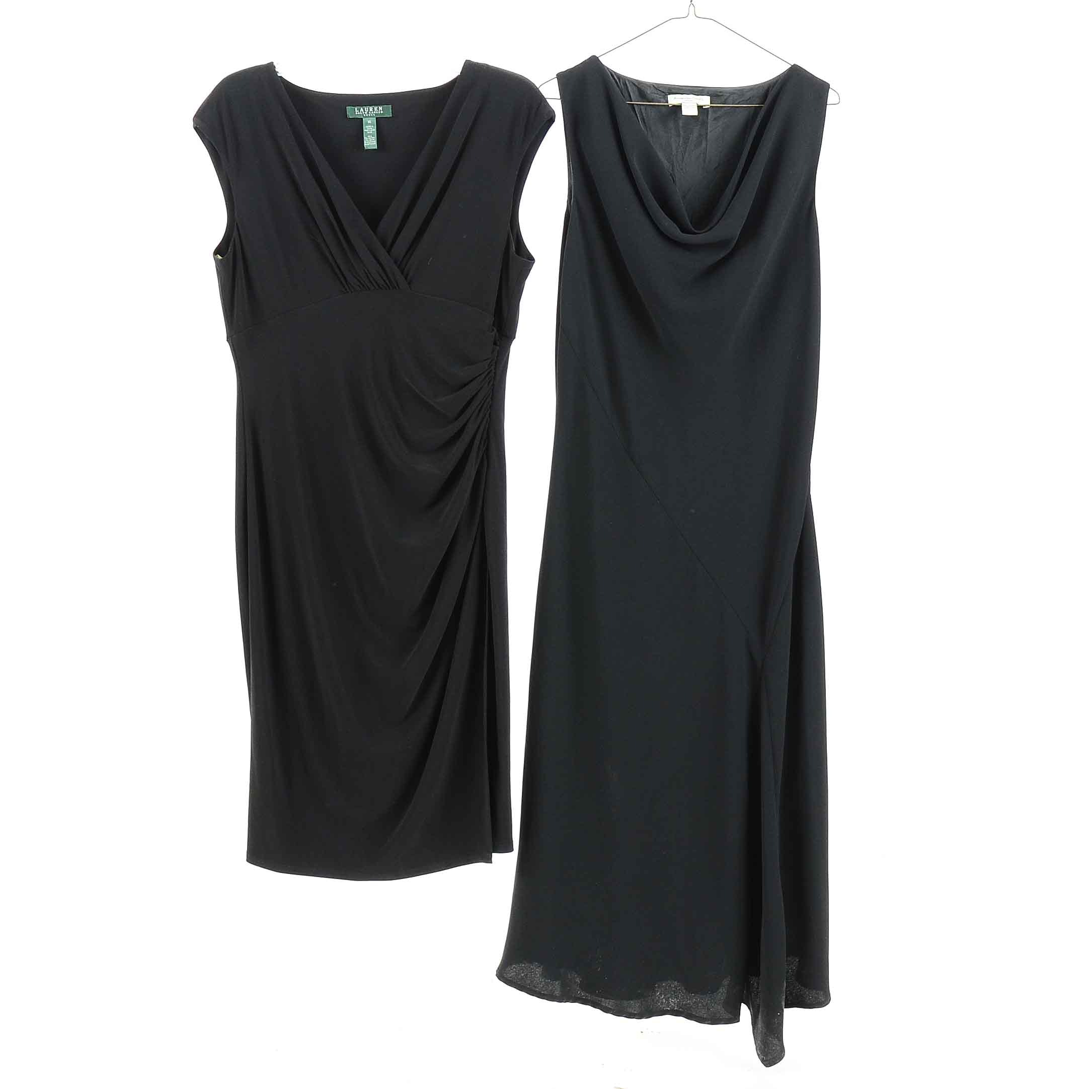 Lauren by Ralph Lauren and Amanda Smith Sleeveless Draped Black Dresses