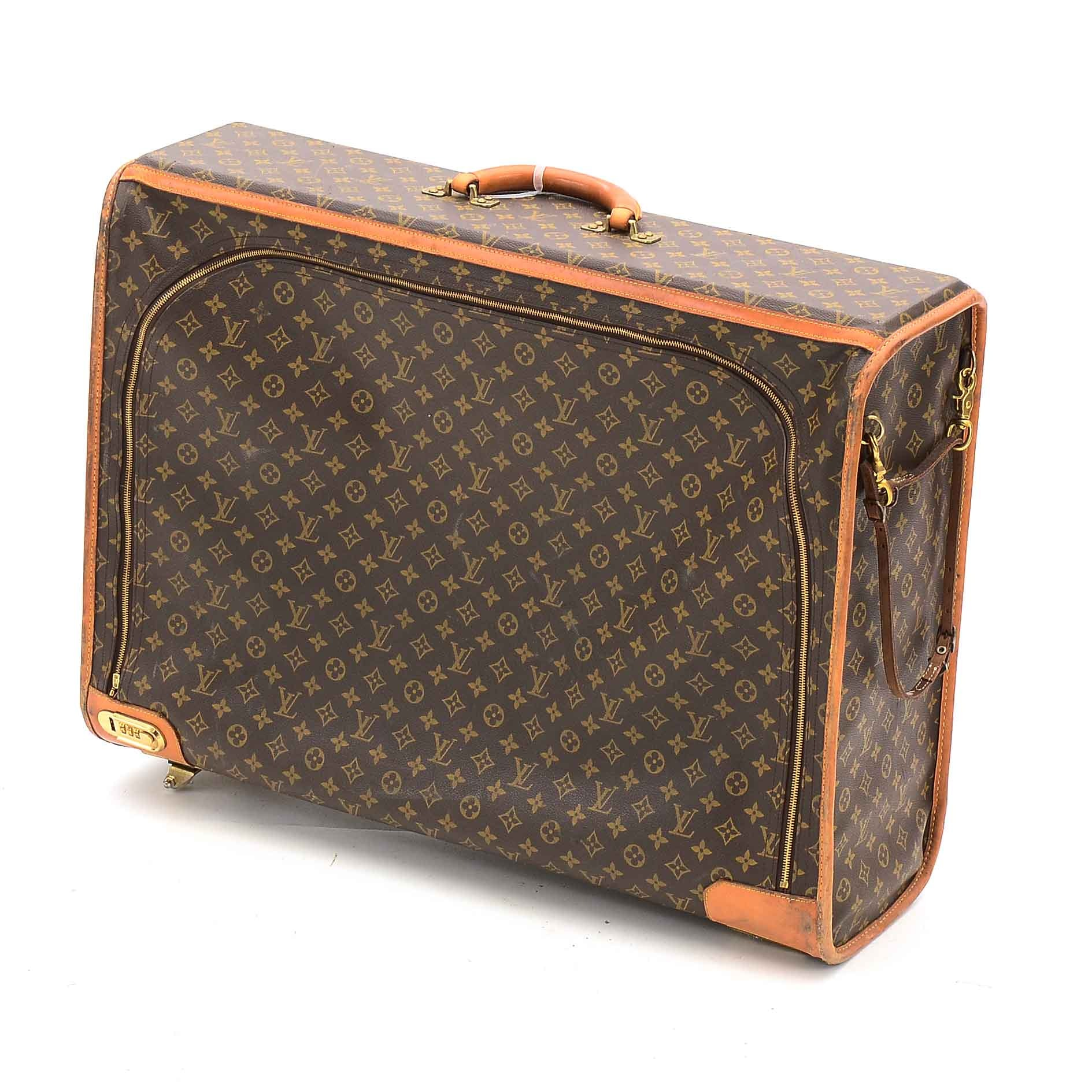 Vintage Louis Vuitton of Paris Monogram Canvas and Leather Pullman Suitcase