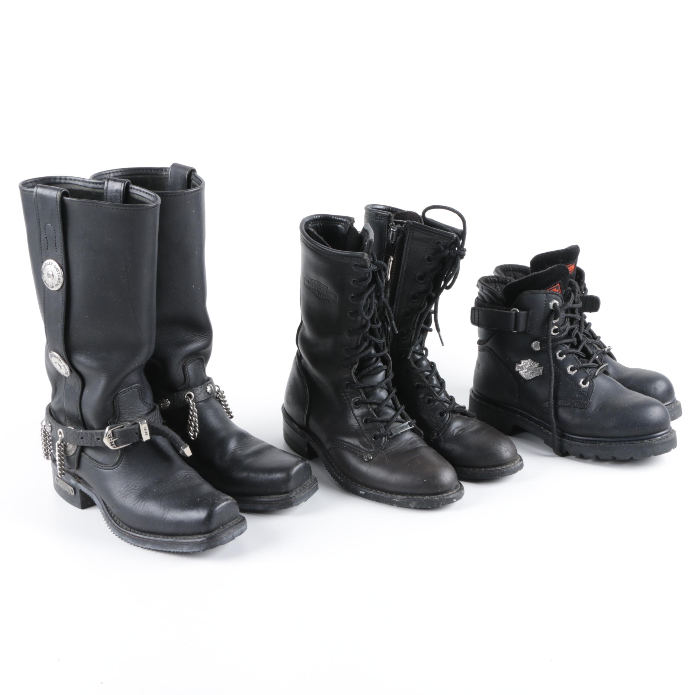 Women's Harley-Davidson Black Leather Motorcycle Boots