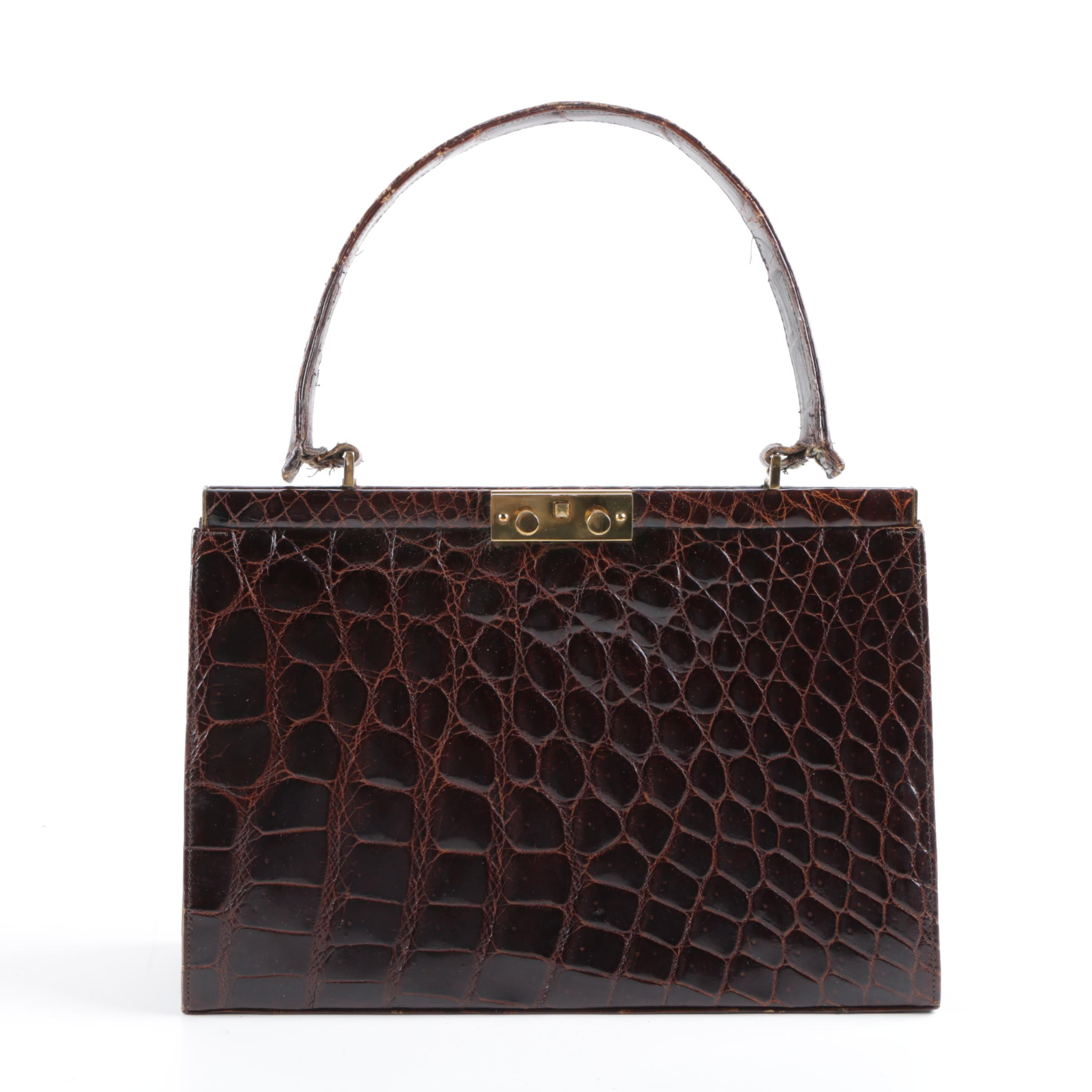 Vintage Crocodile Top Handle Frame Bag