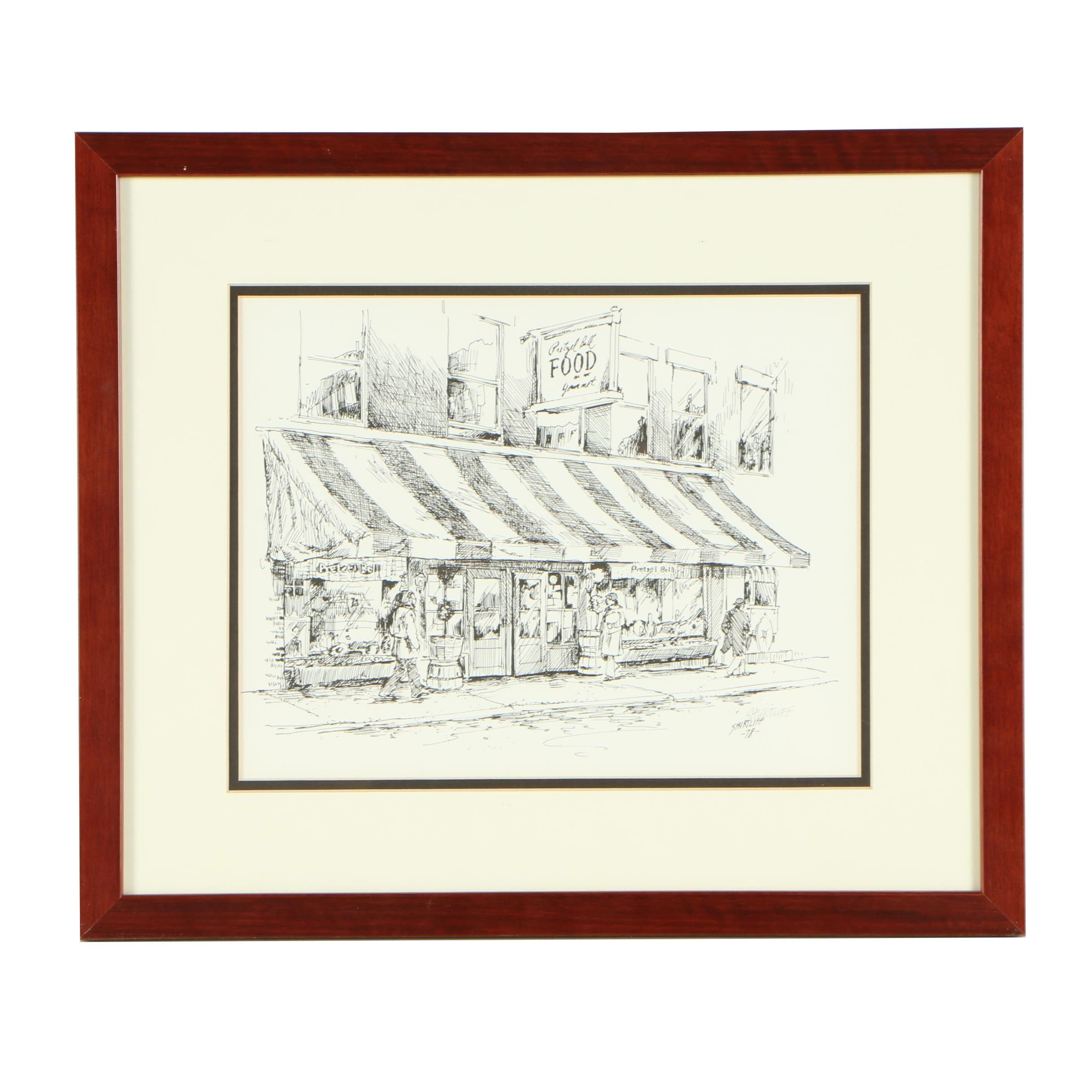Bill Shurtliff Lithograph Print After Drawing of Street Scene