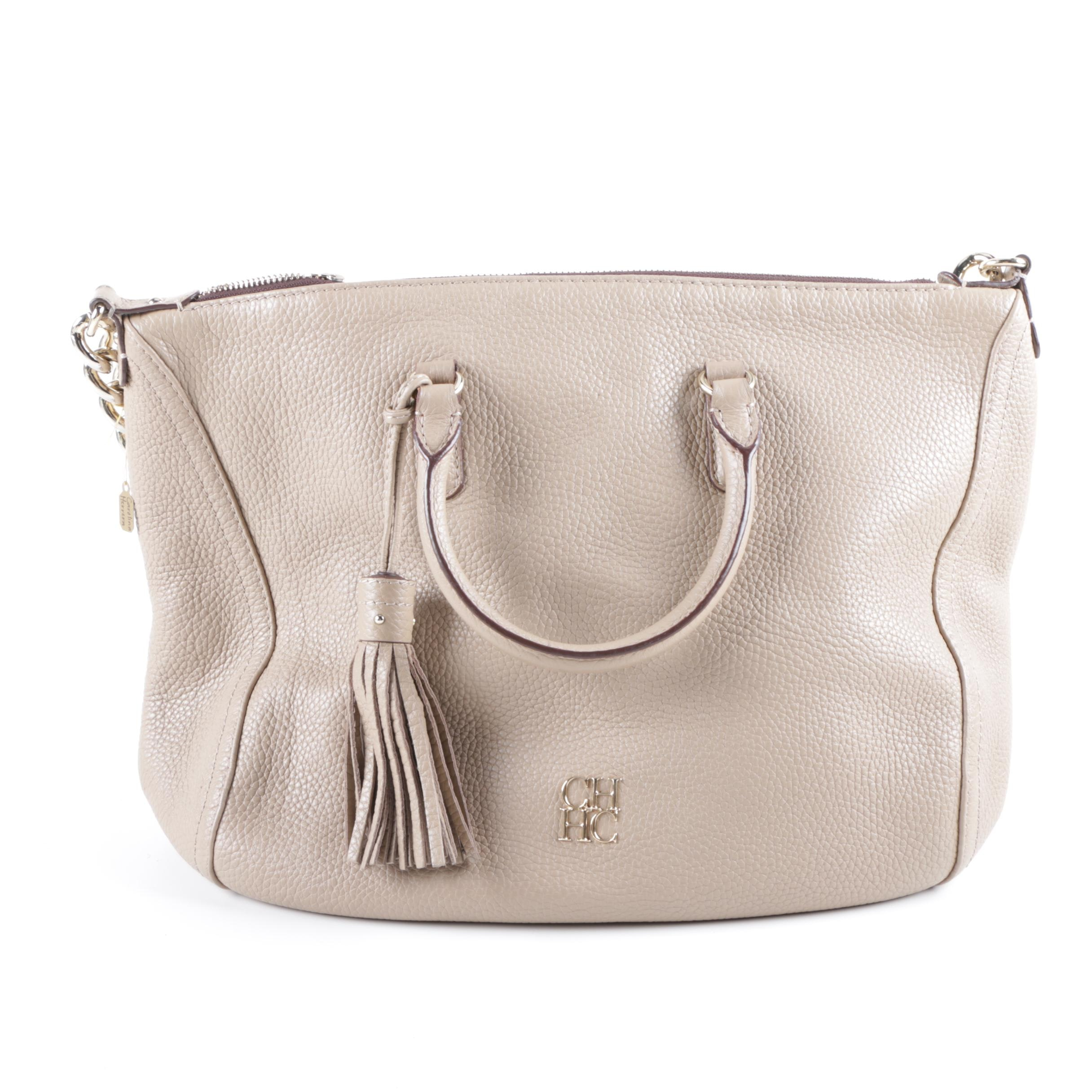 Carolina Herrera Taupe Pebbled Leather Handbag