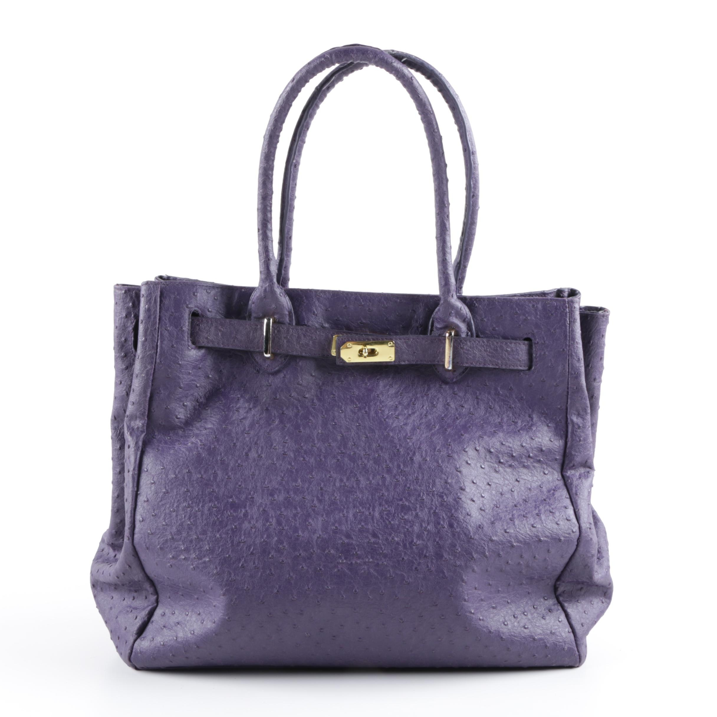 DHG Purple Ostrich Embossed Faux Leather Handbag