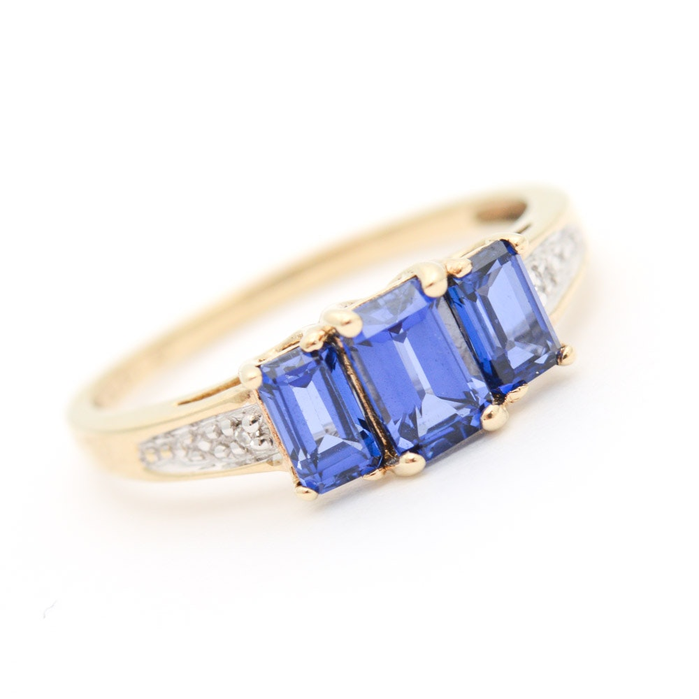 10K Yellow Gold Ring with Synthetic Sapphires and Diamonds