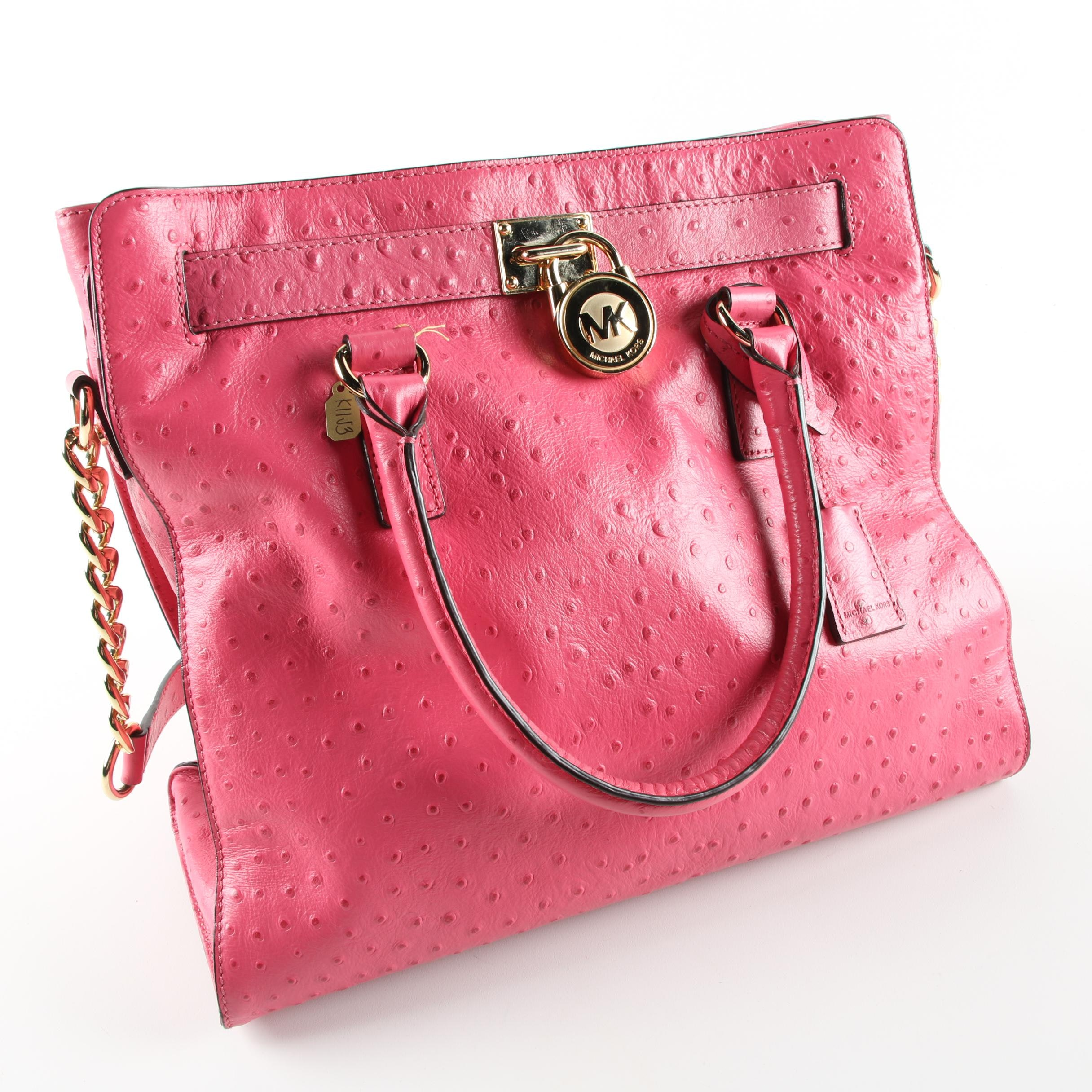 MICHAEL Michael Kors Pink Embossed Ostrich Leather Handbag