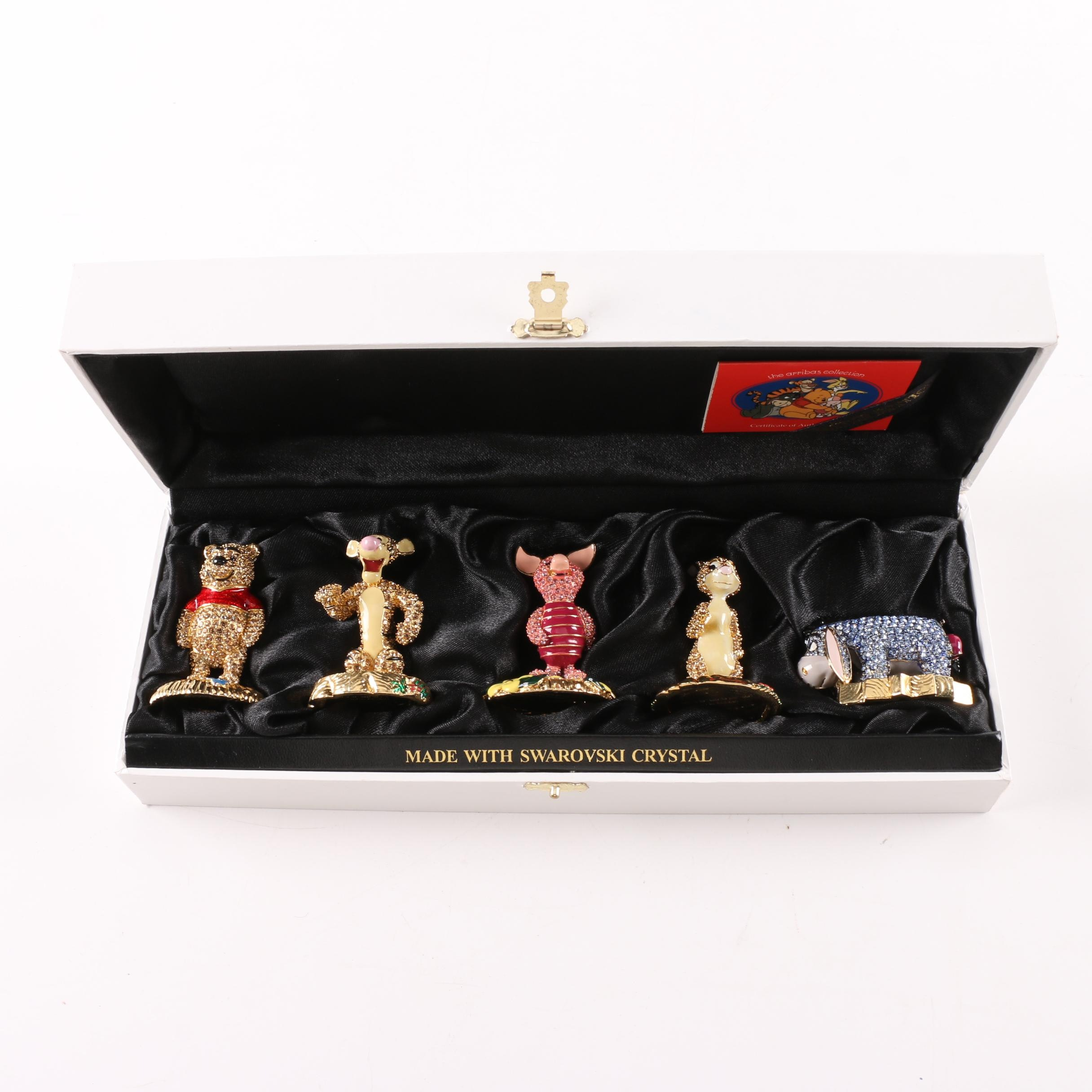 Limited Edition Arribas Brothers Swarovski Winnie the Pooh Figurine Set