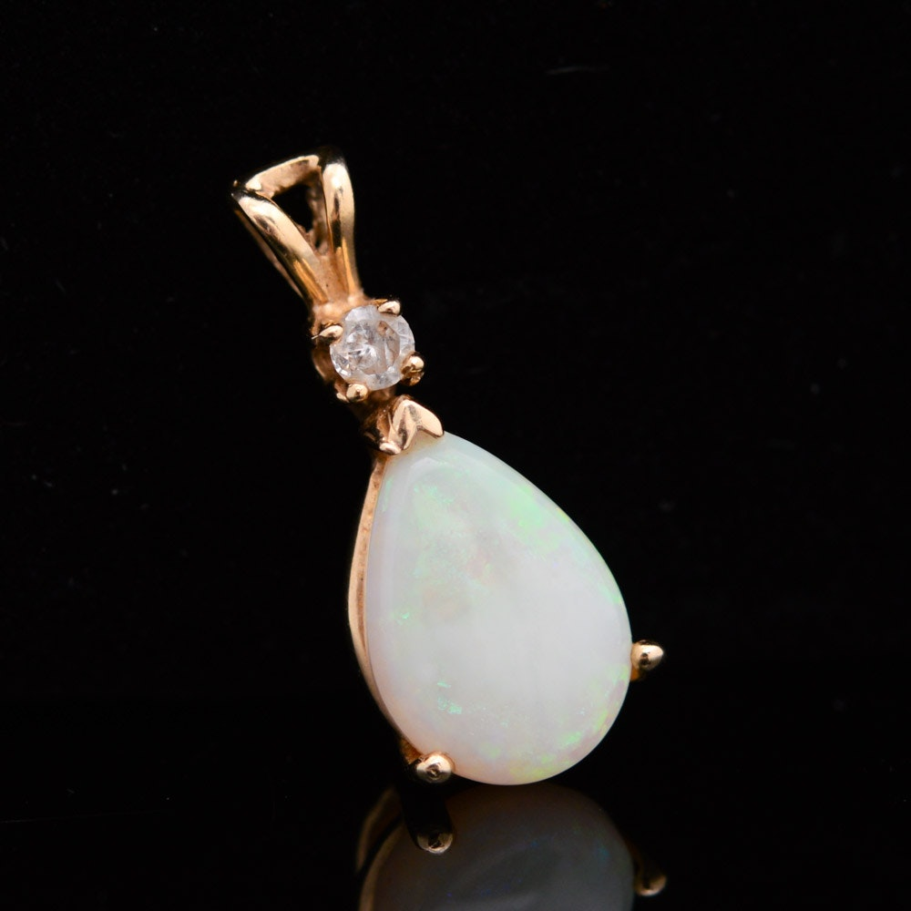 14K Yellow Gold Pendant with Opal and Diamond