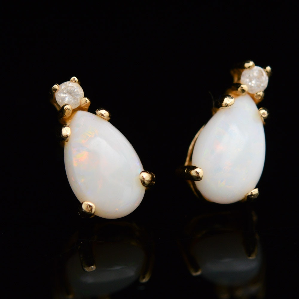 14K Yellow Gold Earrings with Diamonds and Opals