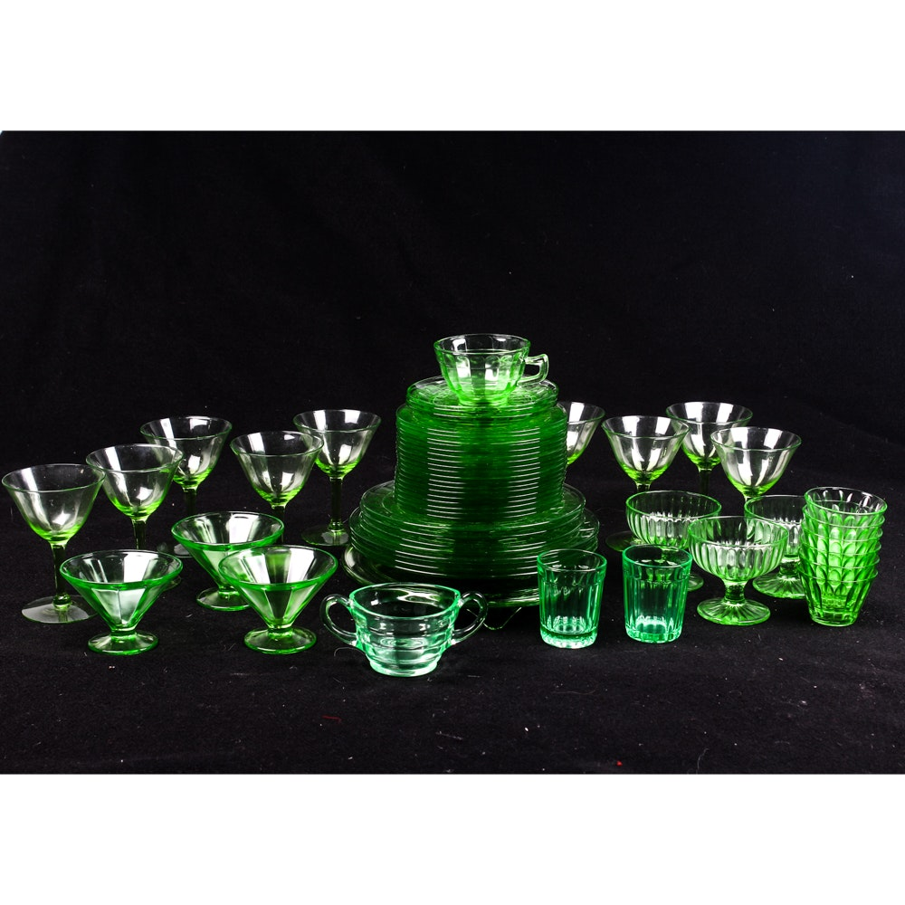 Green Depression Glass Tableware