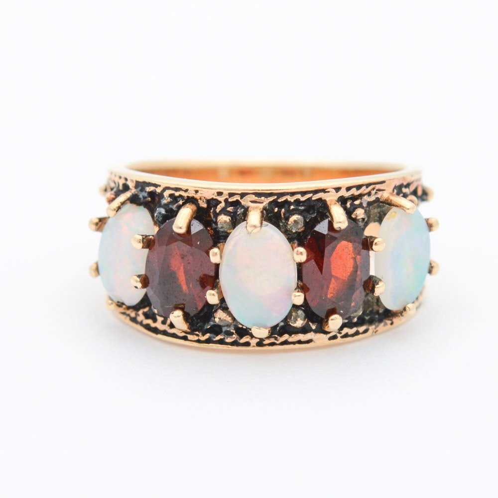 10K Yellow Gold Ring with Opal and Garnet