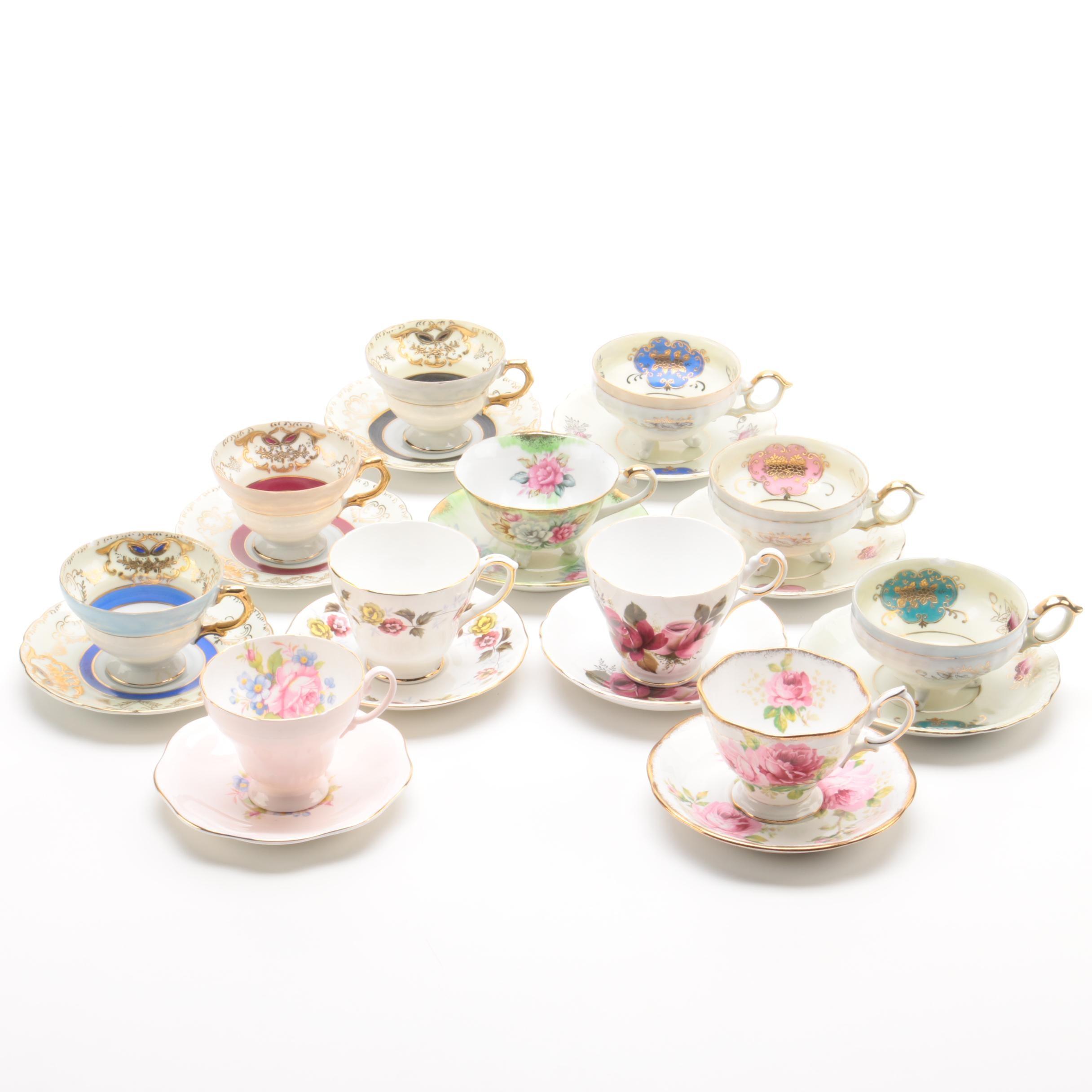 Teacups and Saucers Including Royal Albert