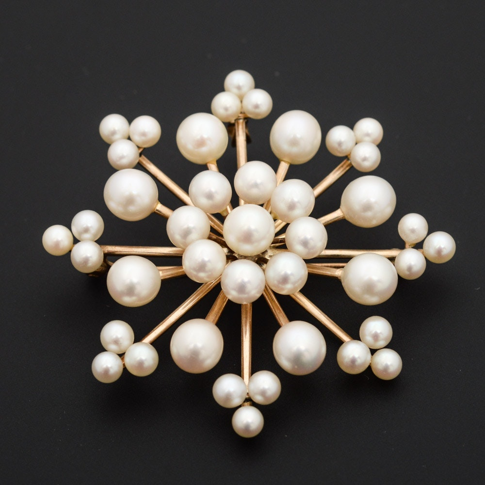14K Yellow Gold and Cultured Pearl Brooch