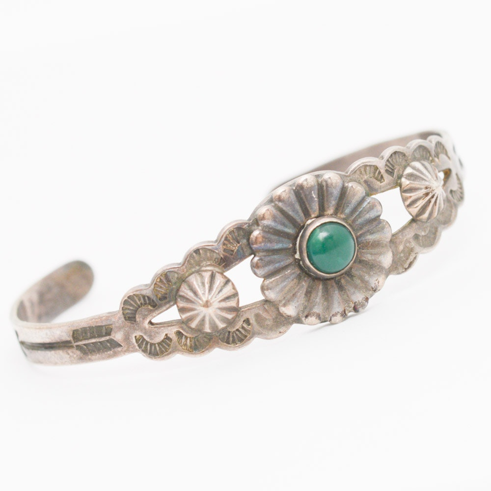 Sterling Silver and Green Agate Cuff