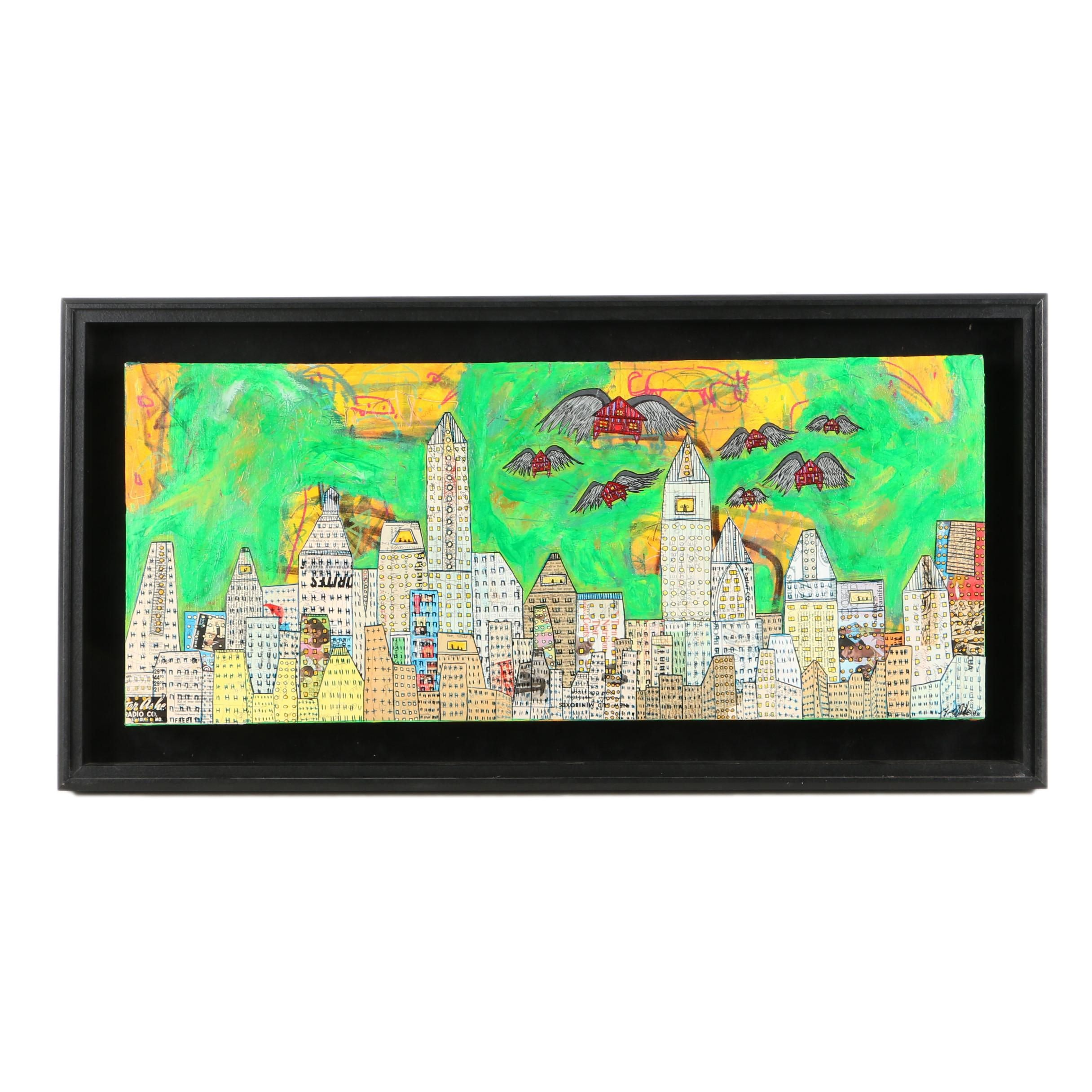 Mixed Media Painting on Canvas of Abstract Cityscape