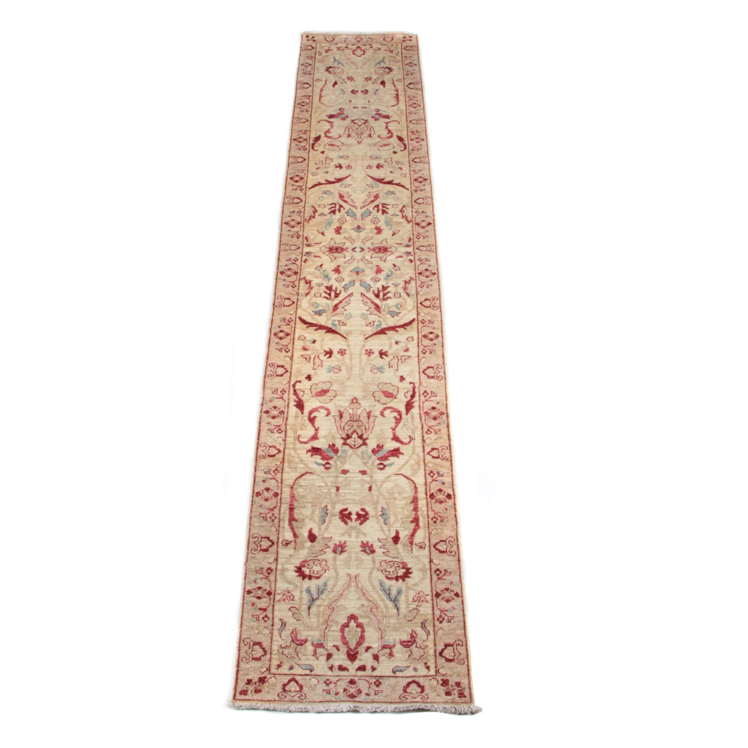 Hand-Knotted Indian Agra Carpet Runner