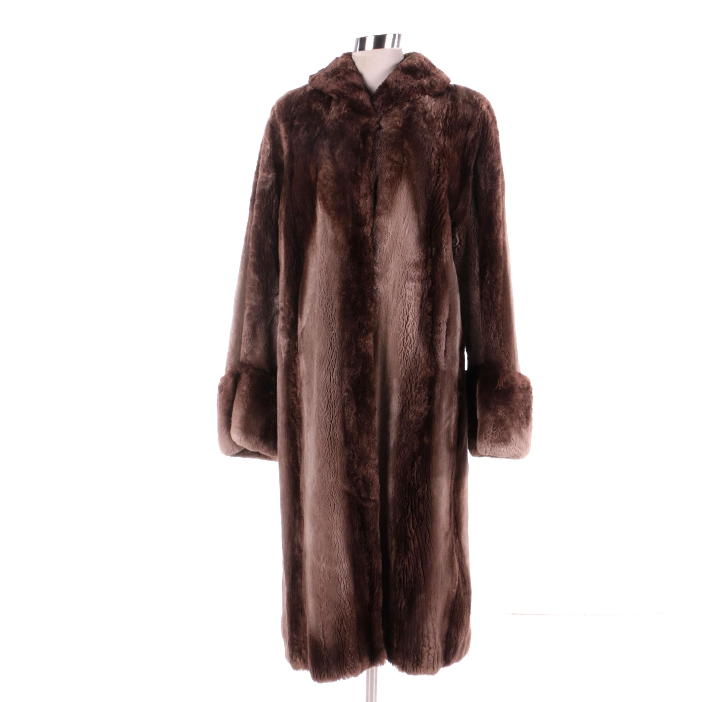 Women's Vintage Brown Sheared Beaver Fur Coat
