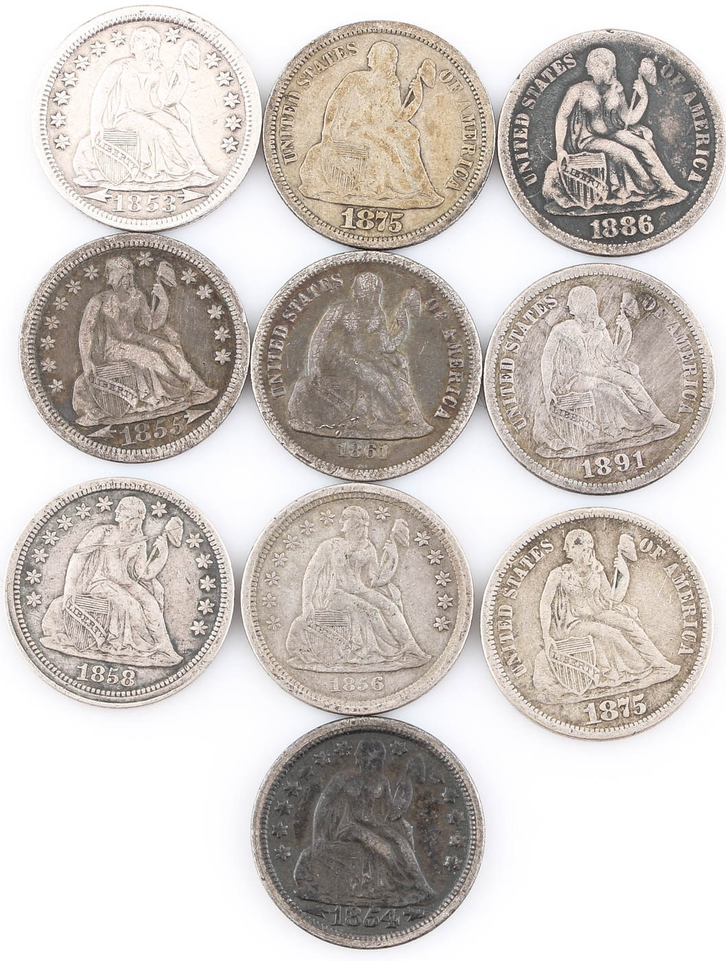 Group of Ten Seated Liberty Silver Dimes