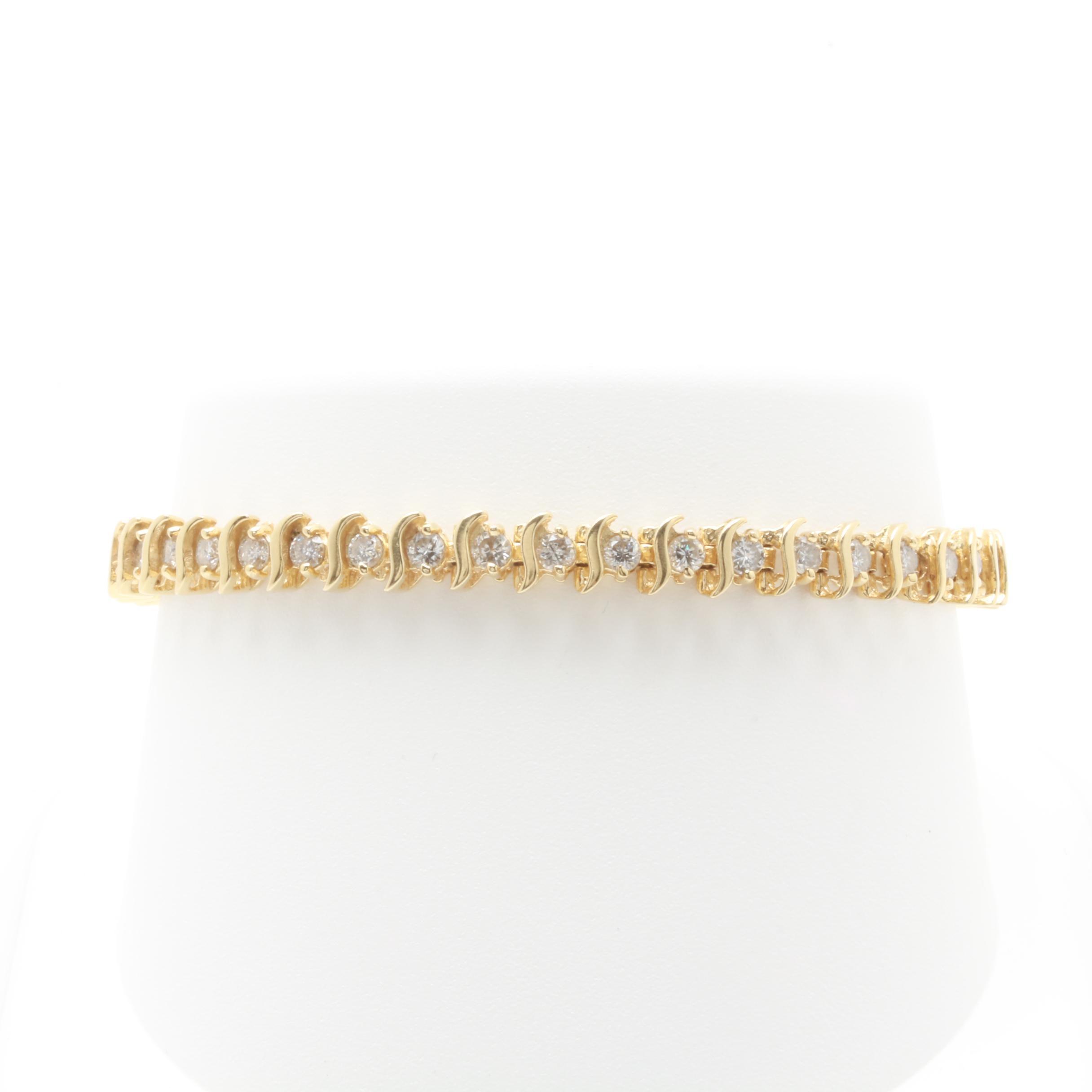 14K Yellow Gold 2.60 CTW Diamond Bracelet
