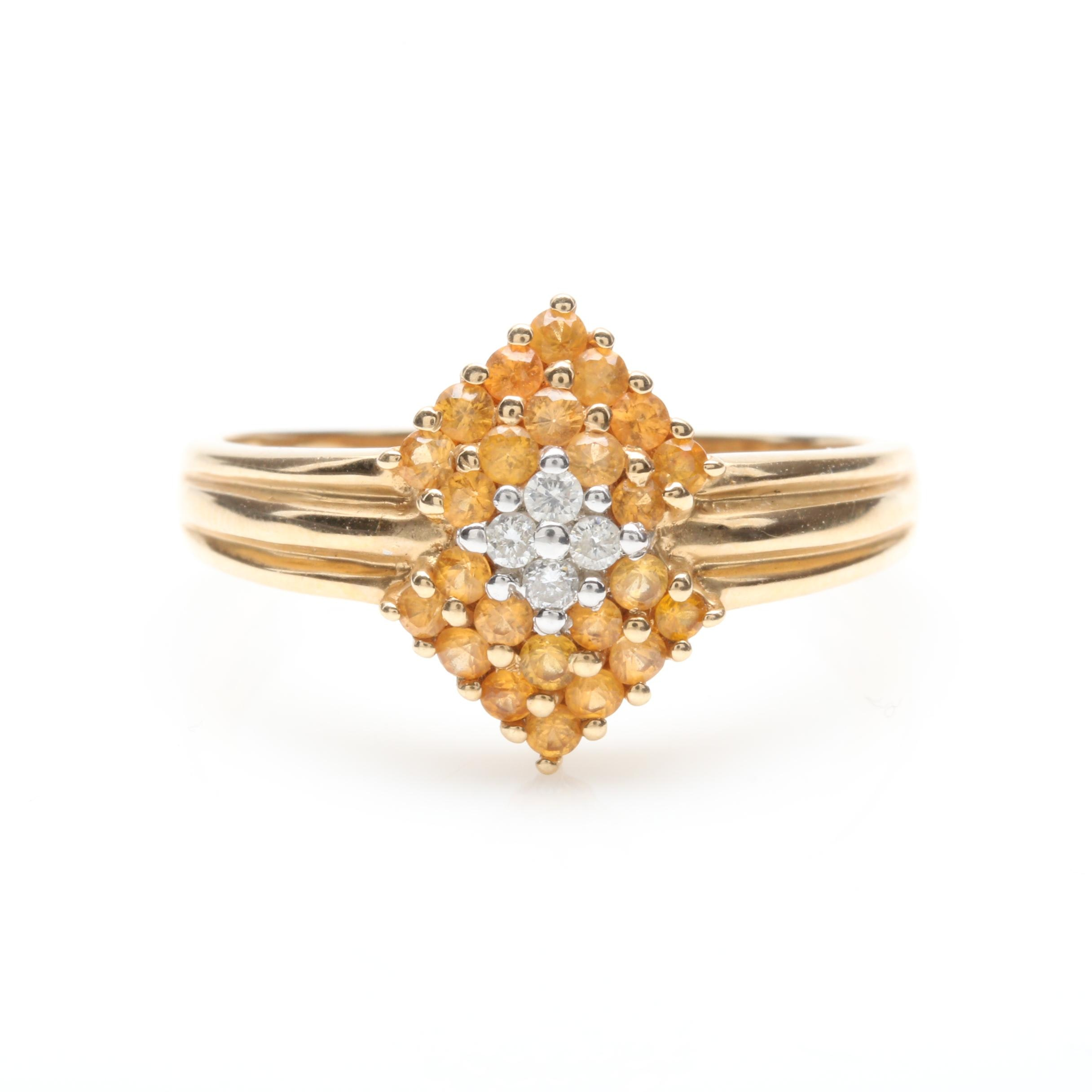 14K Yellow Gold Diamond and Yellow Sapphire Ring