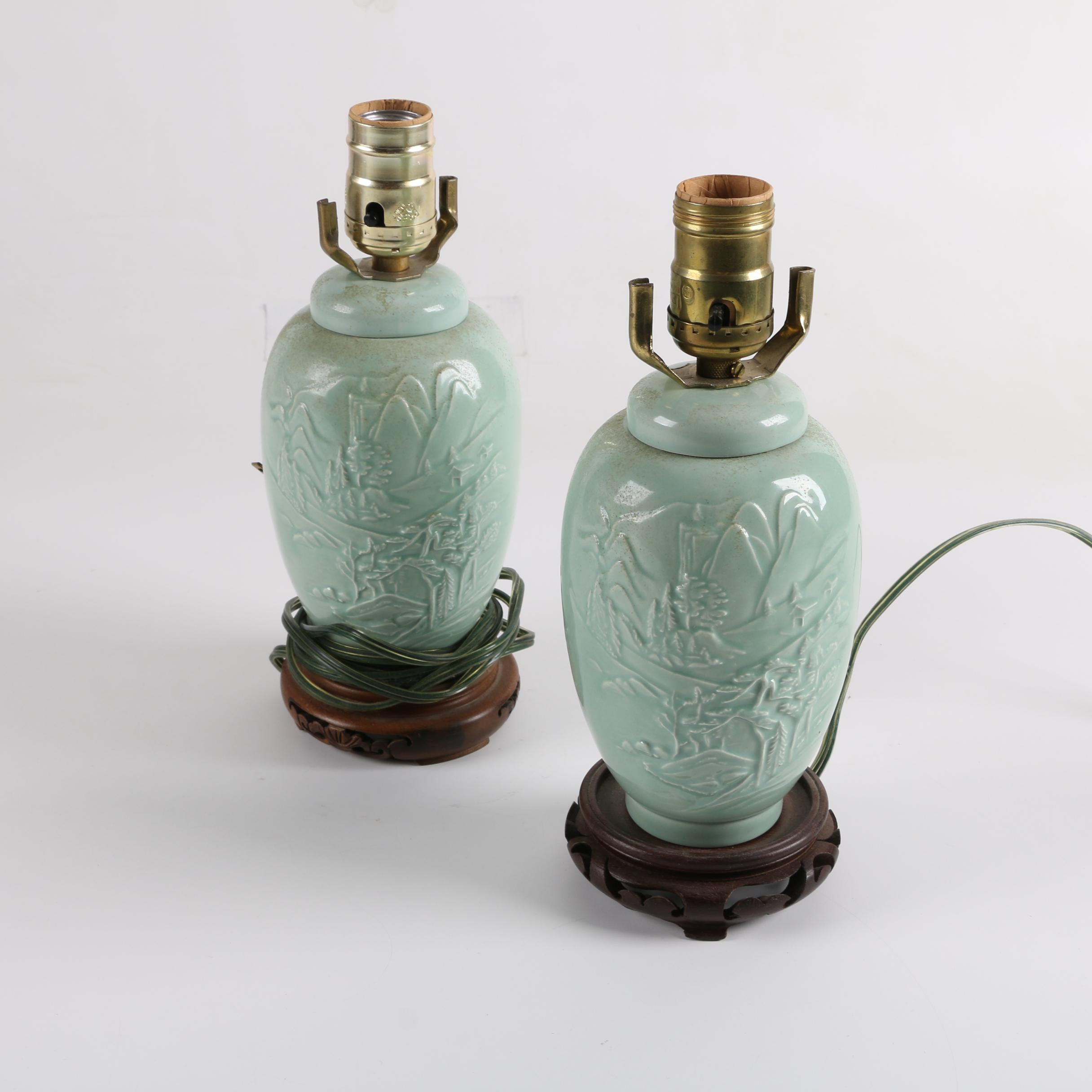 Vintage Chinese Celadon Ceramic Accent Lamps