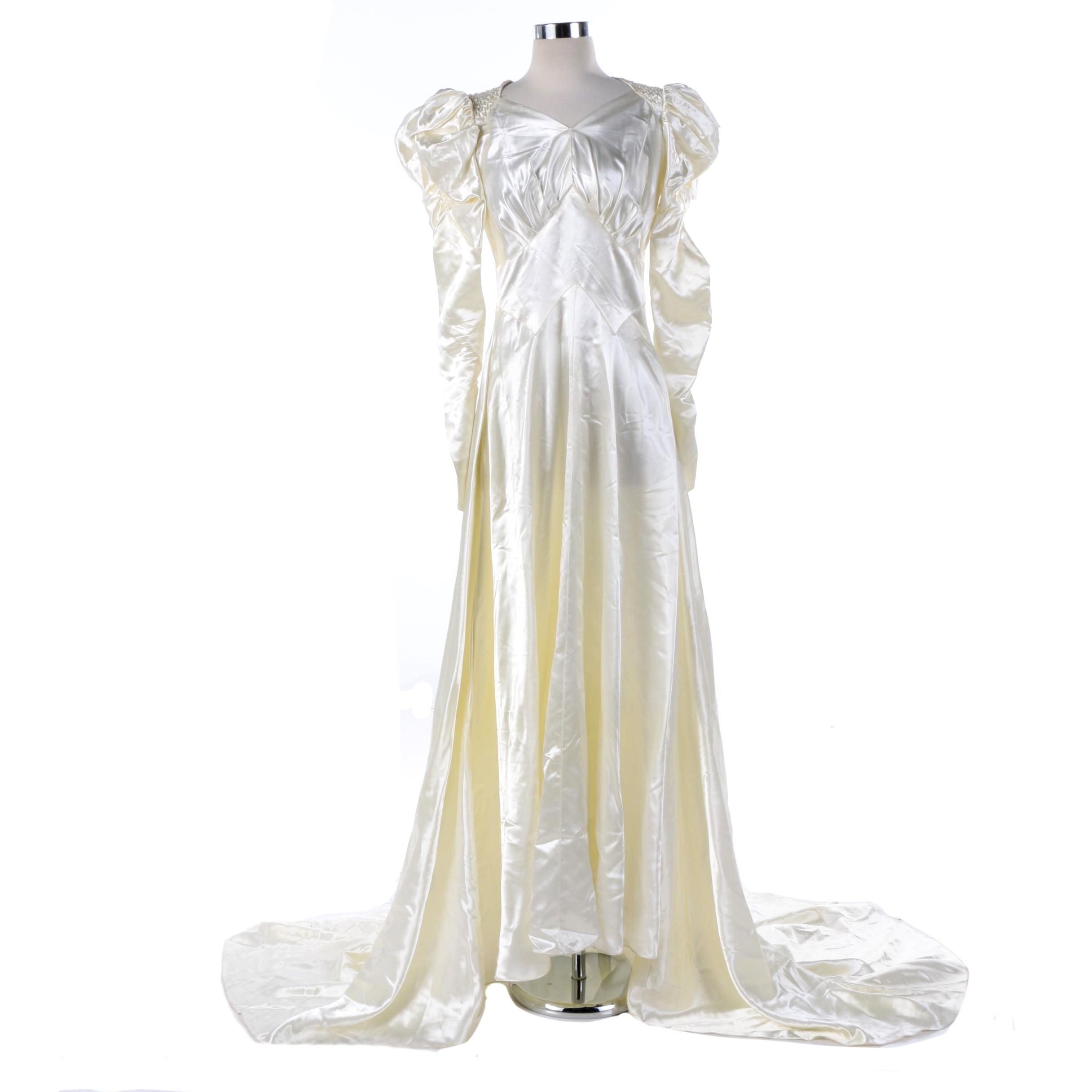 Vintage Bullock's Los Angeles Off-White Satin Wedding Gown
