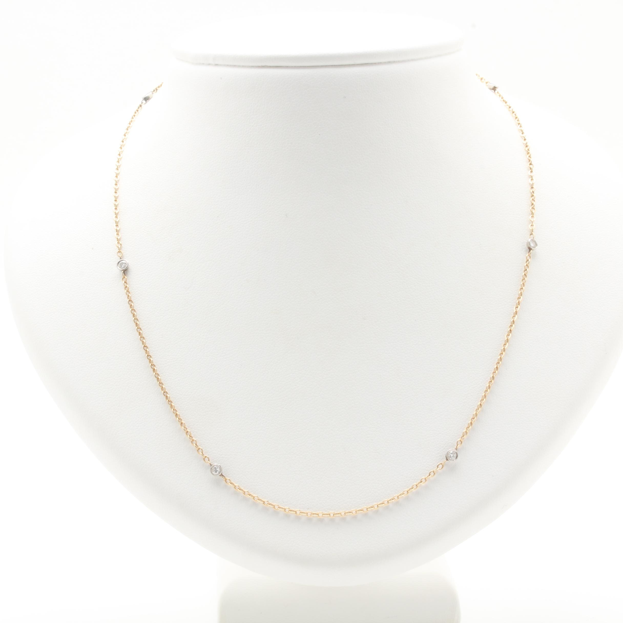 14K Yellow Gold and Palladium Diamond Necklace