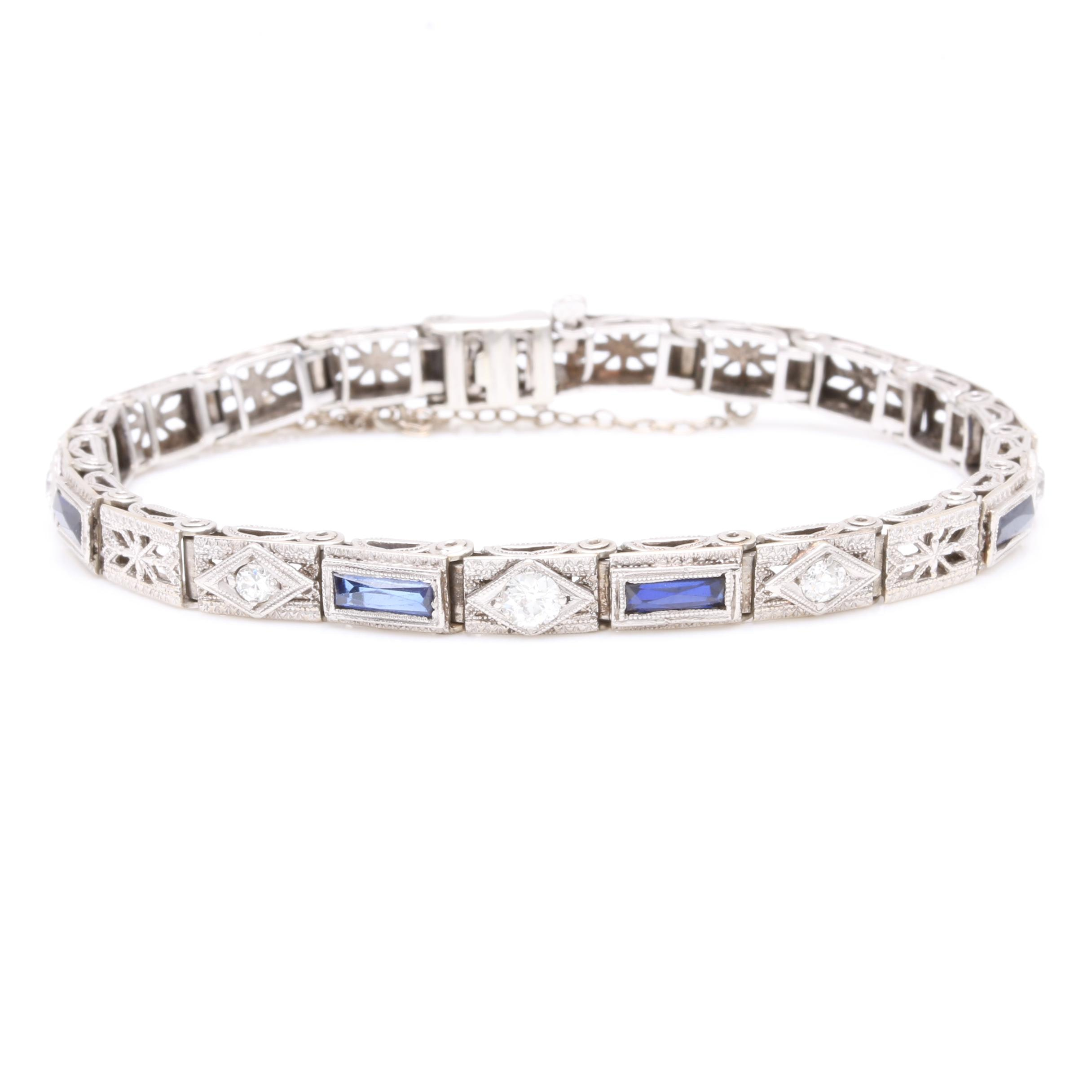 Vintage Platinum and 14K White Gold Synthetic Sapphire and Diamond Bracelet