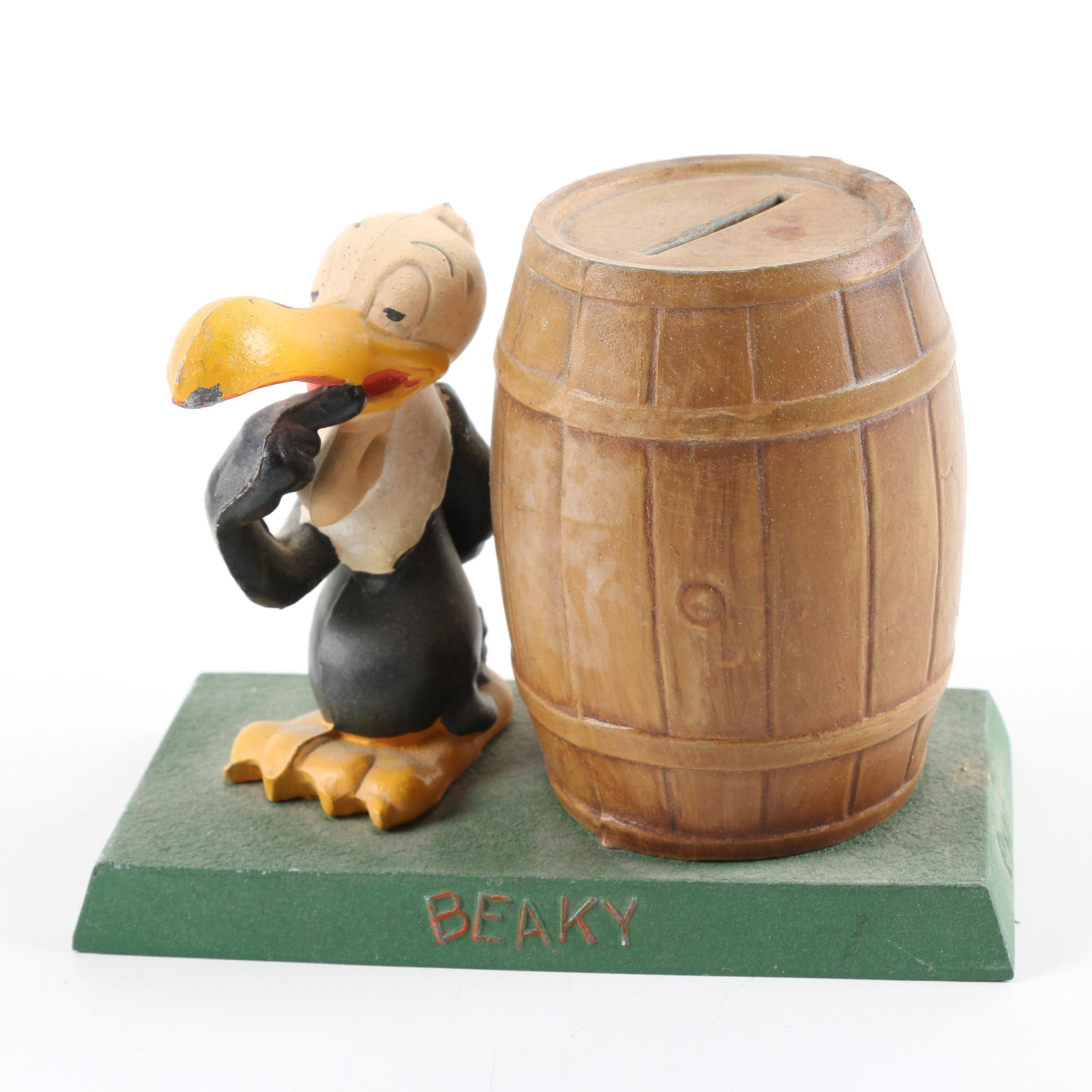 "C. 1940s Warner Brothers ""Beaky Buzzard"" Cast Iron Coin Bank"