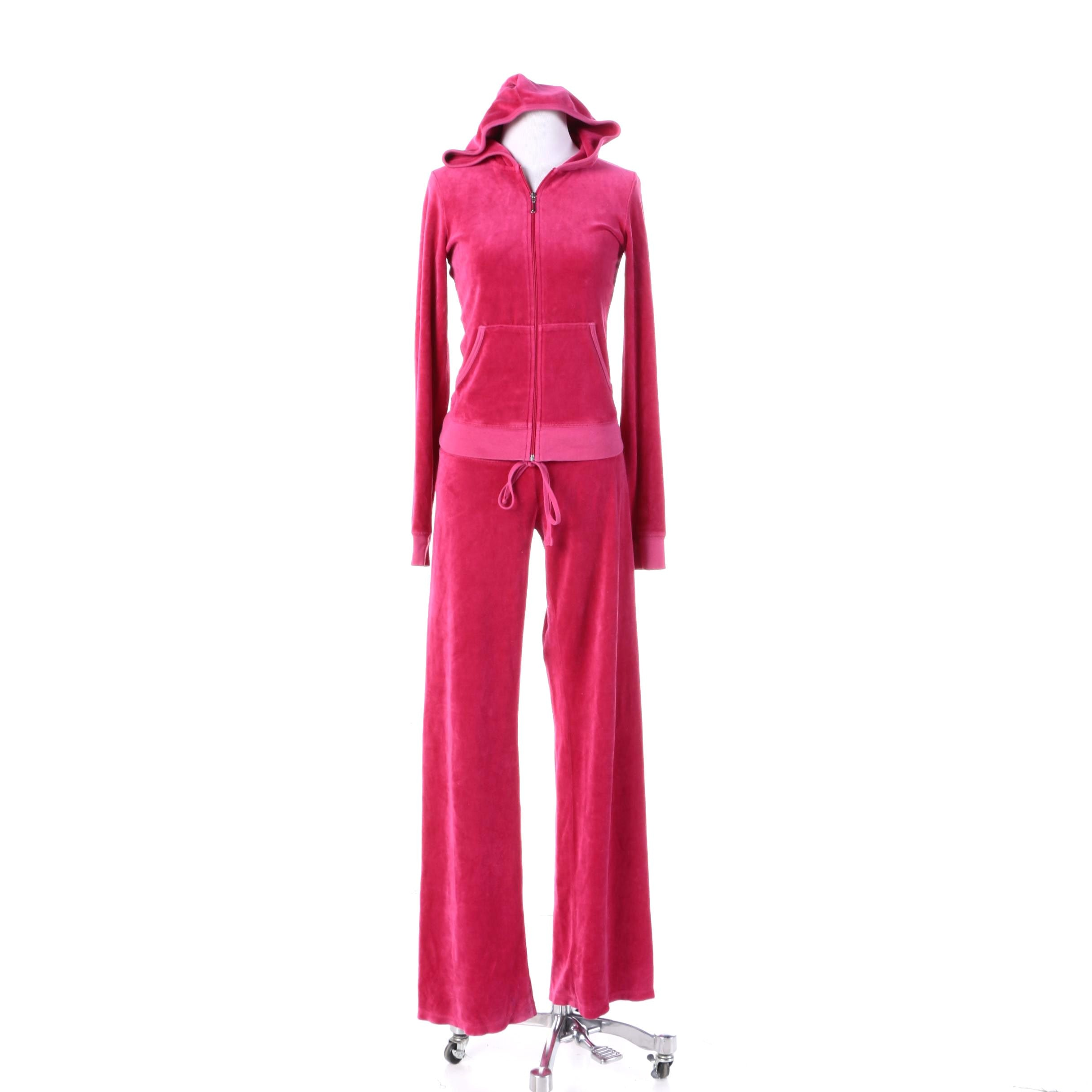 Women's Juicy Couture Pink Velour Track Suit