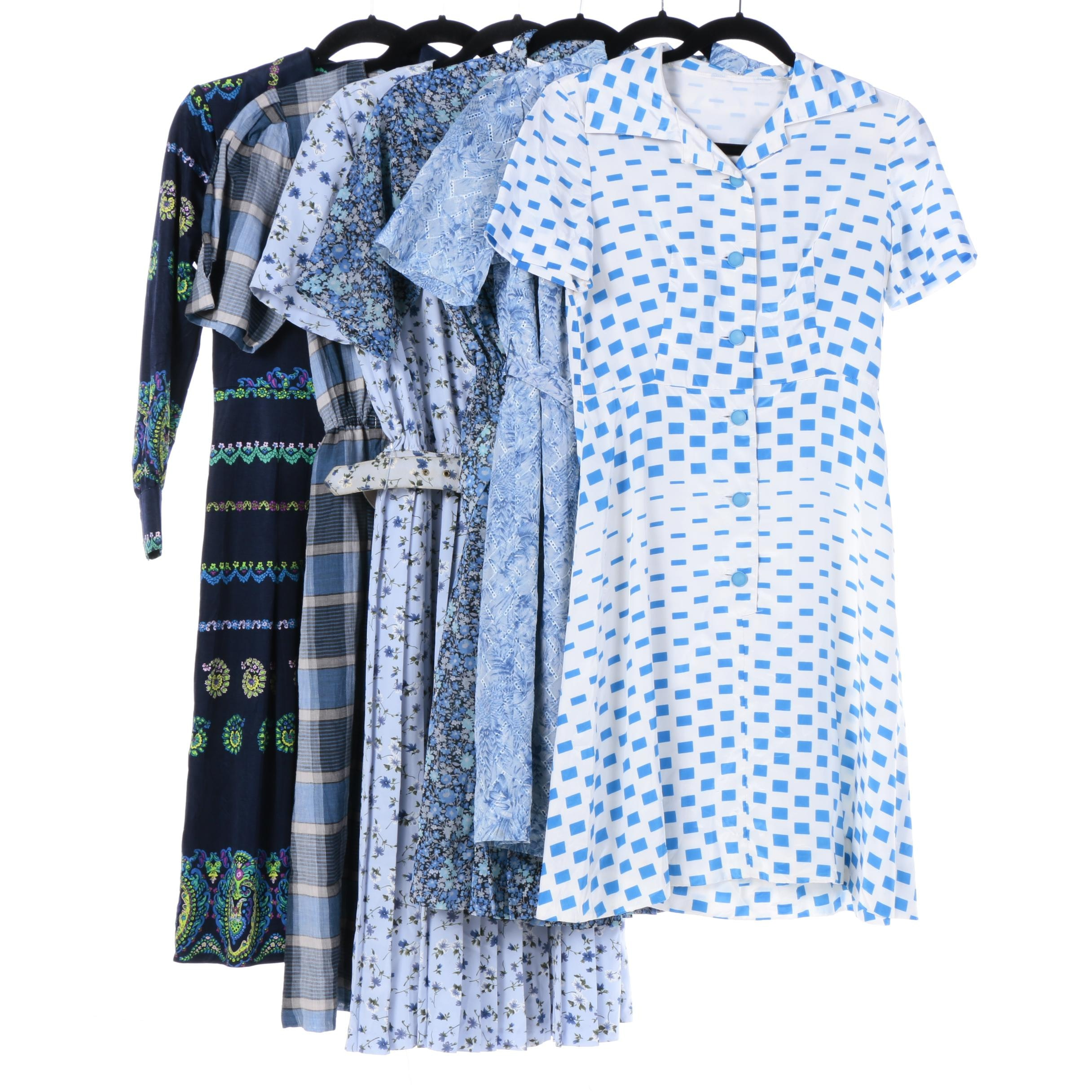 Women's Modern and Vintage Blue Day Dresses Including Leslie Fay