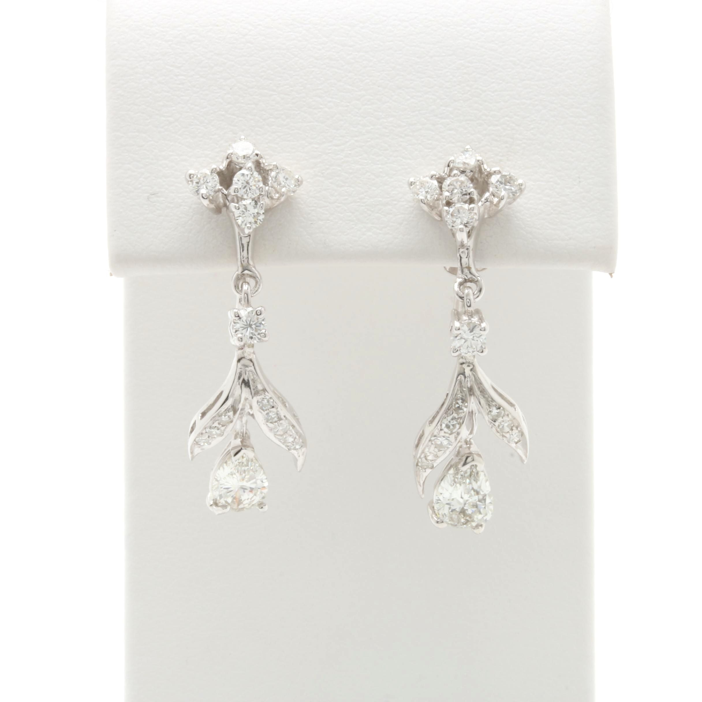 14K White Gold 1.76 CTW Diamond Dangle Earrings