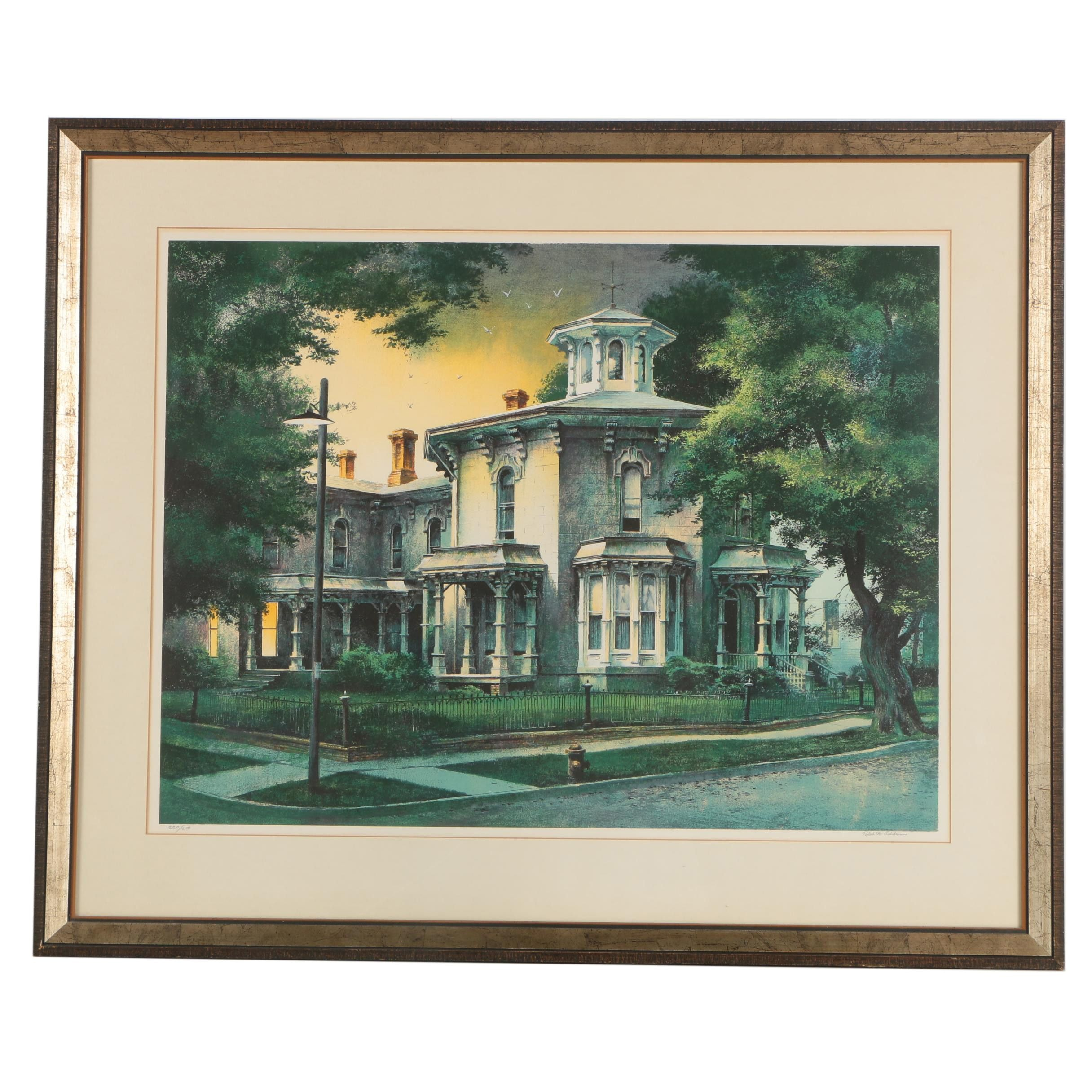 "Robert W. Addison Limited Edition Serigraph titled ""Octagon House"""