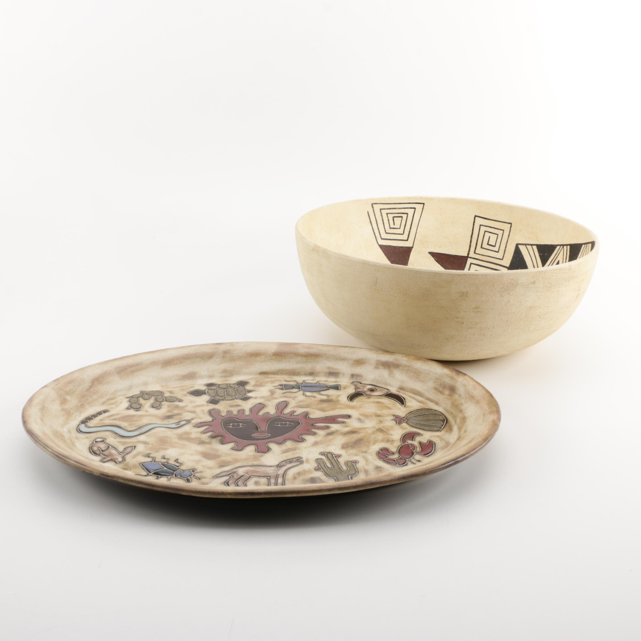 Mara Mexican Platter and Native American-Style Ceramic Bowl