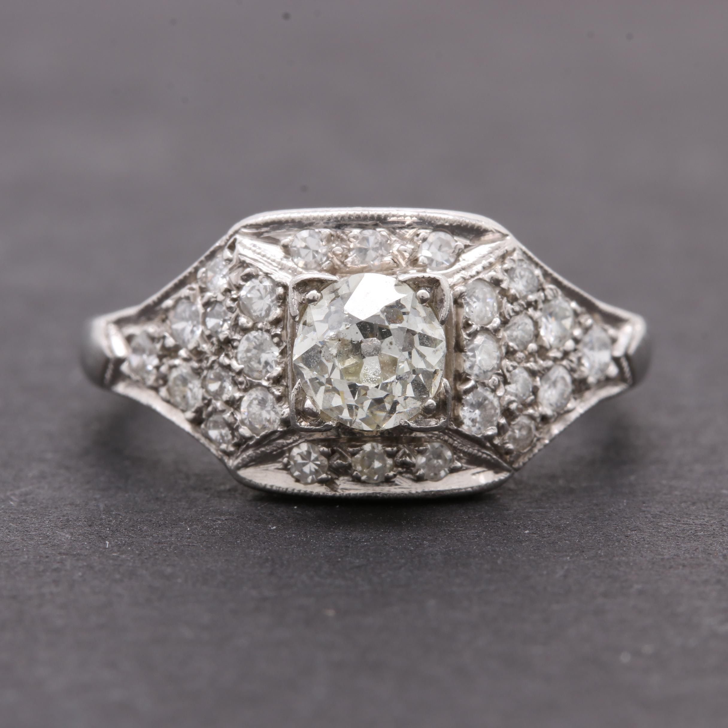 Platinum and 0.97 CTW Diamond Ring
