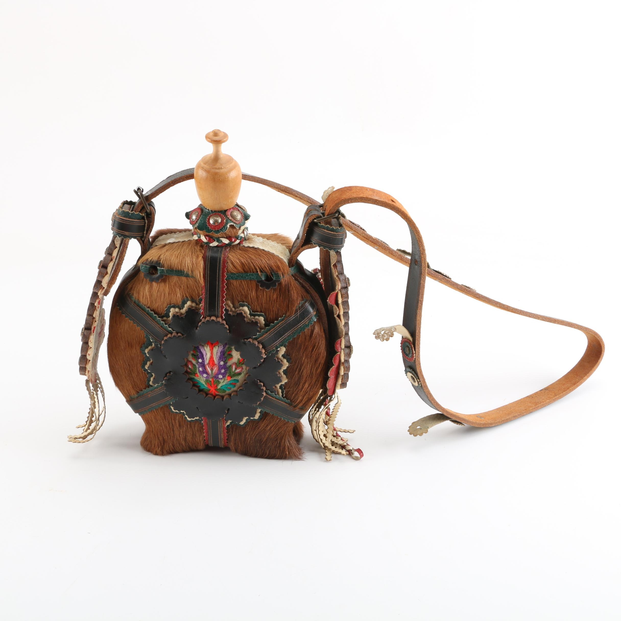 Handmade Embroidered Animal Hide Canteen