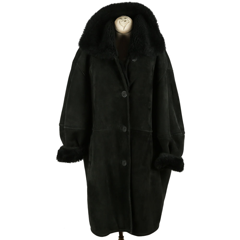 Women's Black Suede and Shearling Coat by The Tepper Collection of New York
