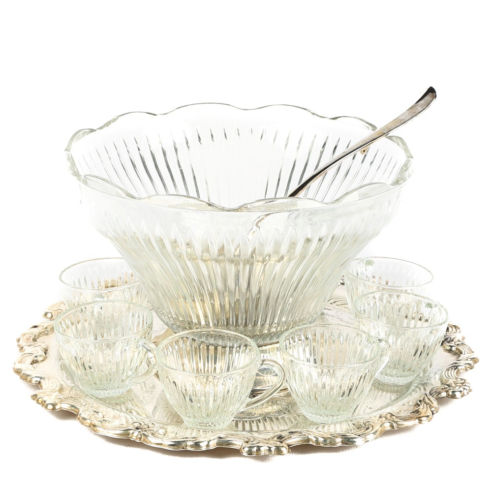 International Silver Co. Plated Silver and Crystal Punch Set